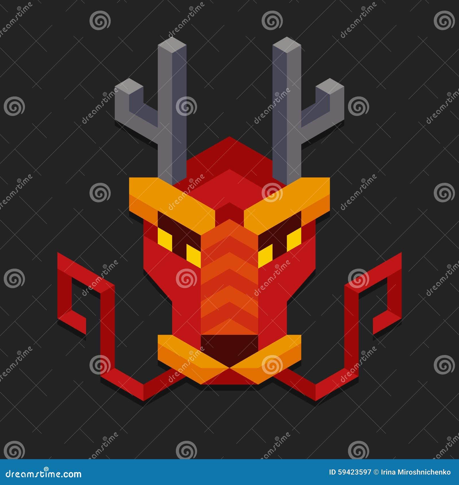 Tête Chinoise Géométrique De Dragon Illustration De Vecteur