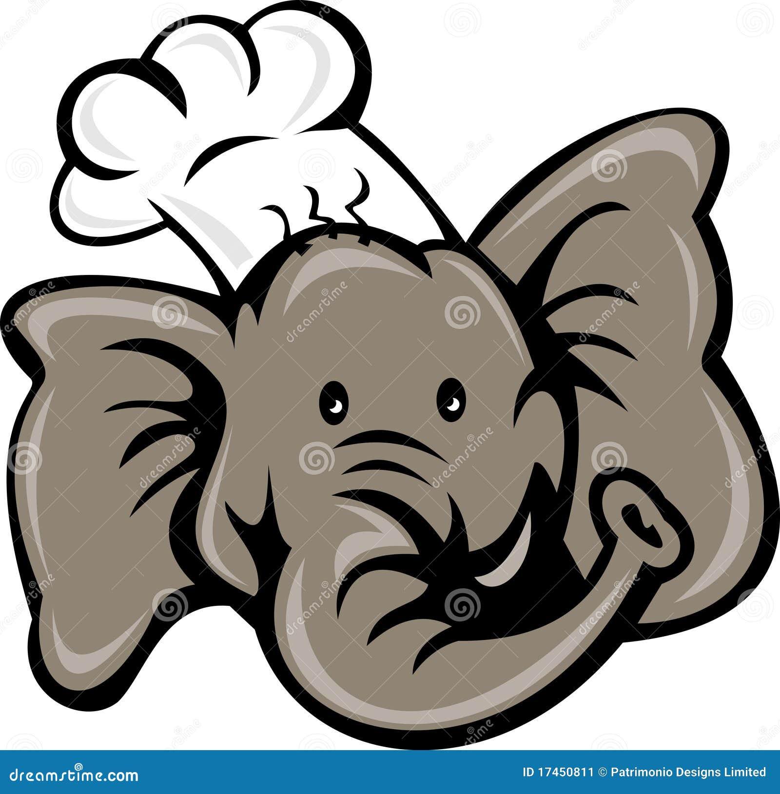 Tete D Elephant De Boulanger De Cuisinier De Chef Illustration Stock