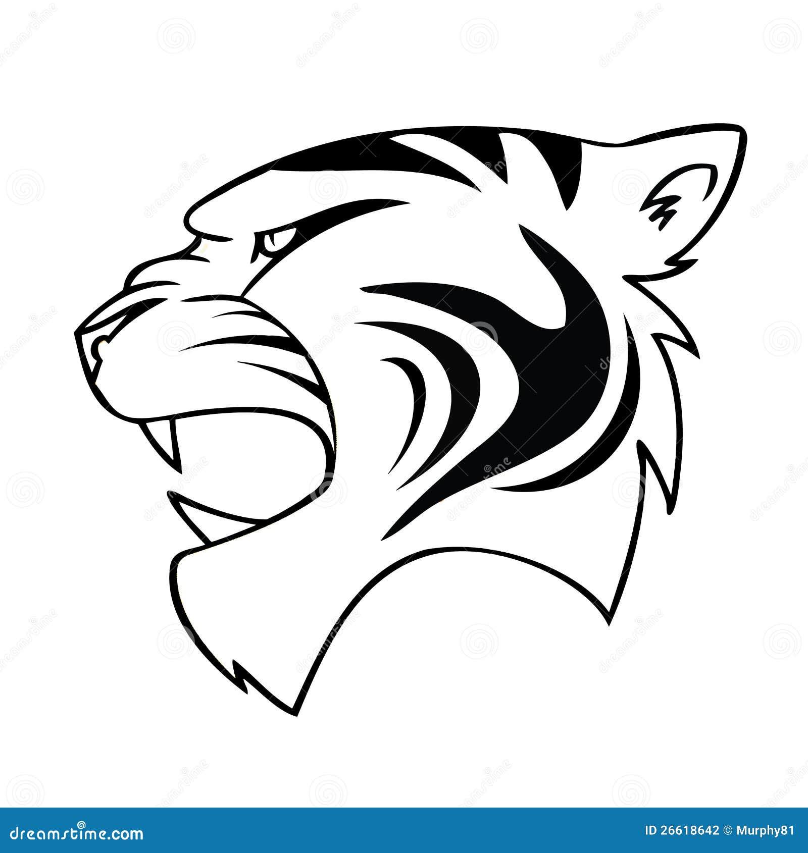 Tête D Isolement De Tigre De Dessin Animé Illustration De