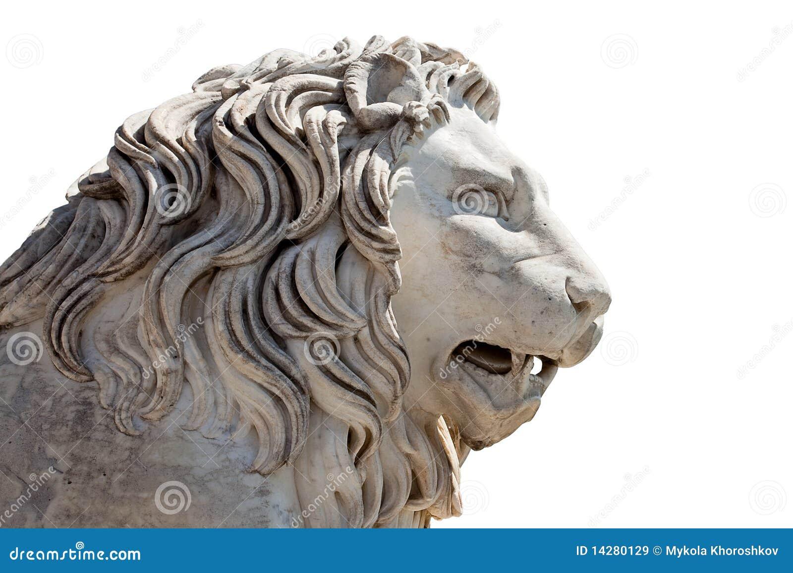 Tête d une sculpture en lion images libres de droits