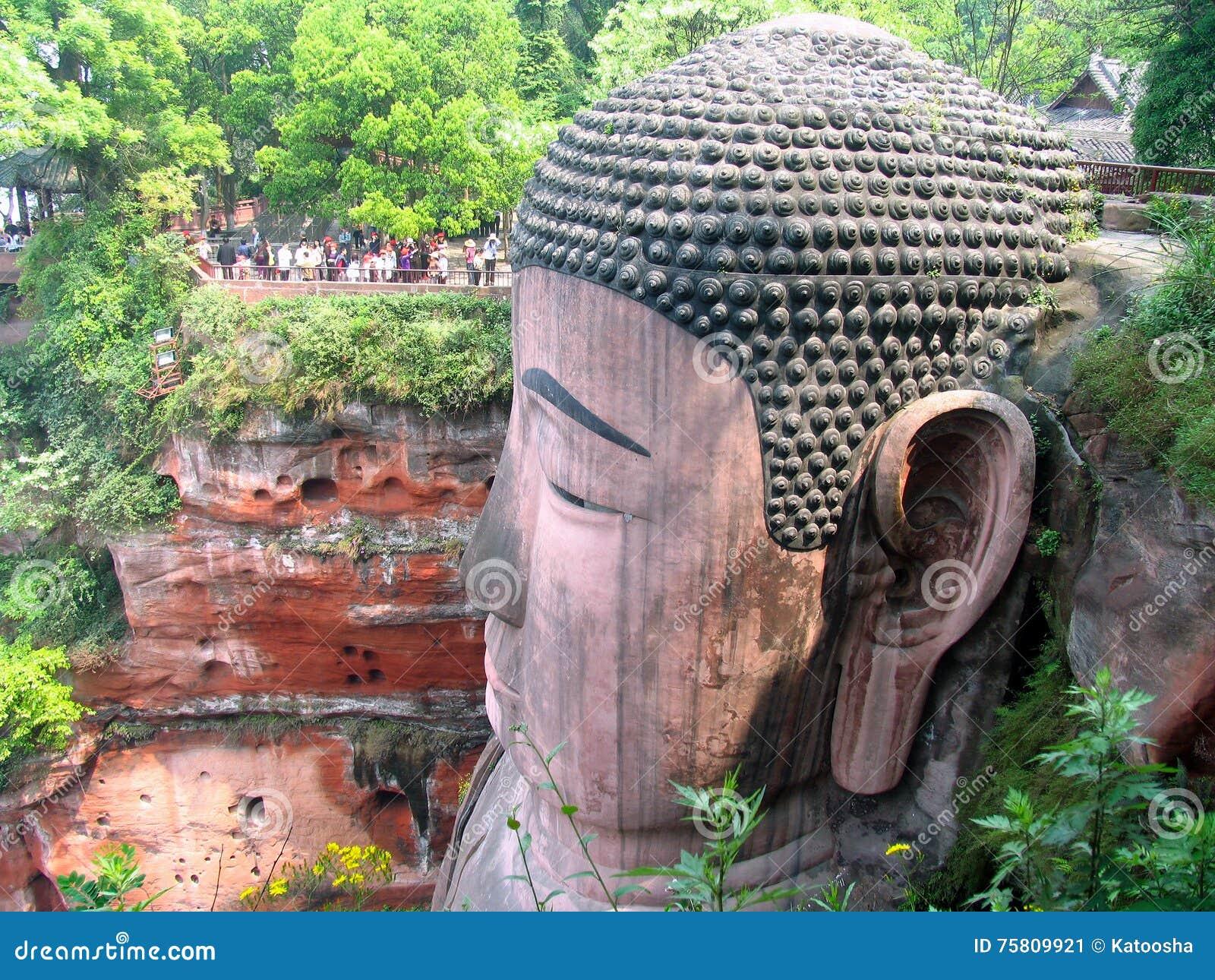 Tête de Bouddha s asseyant géant province dans Leshan, Sichuan, Chine