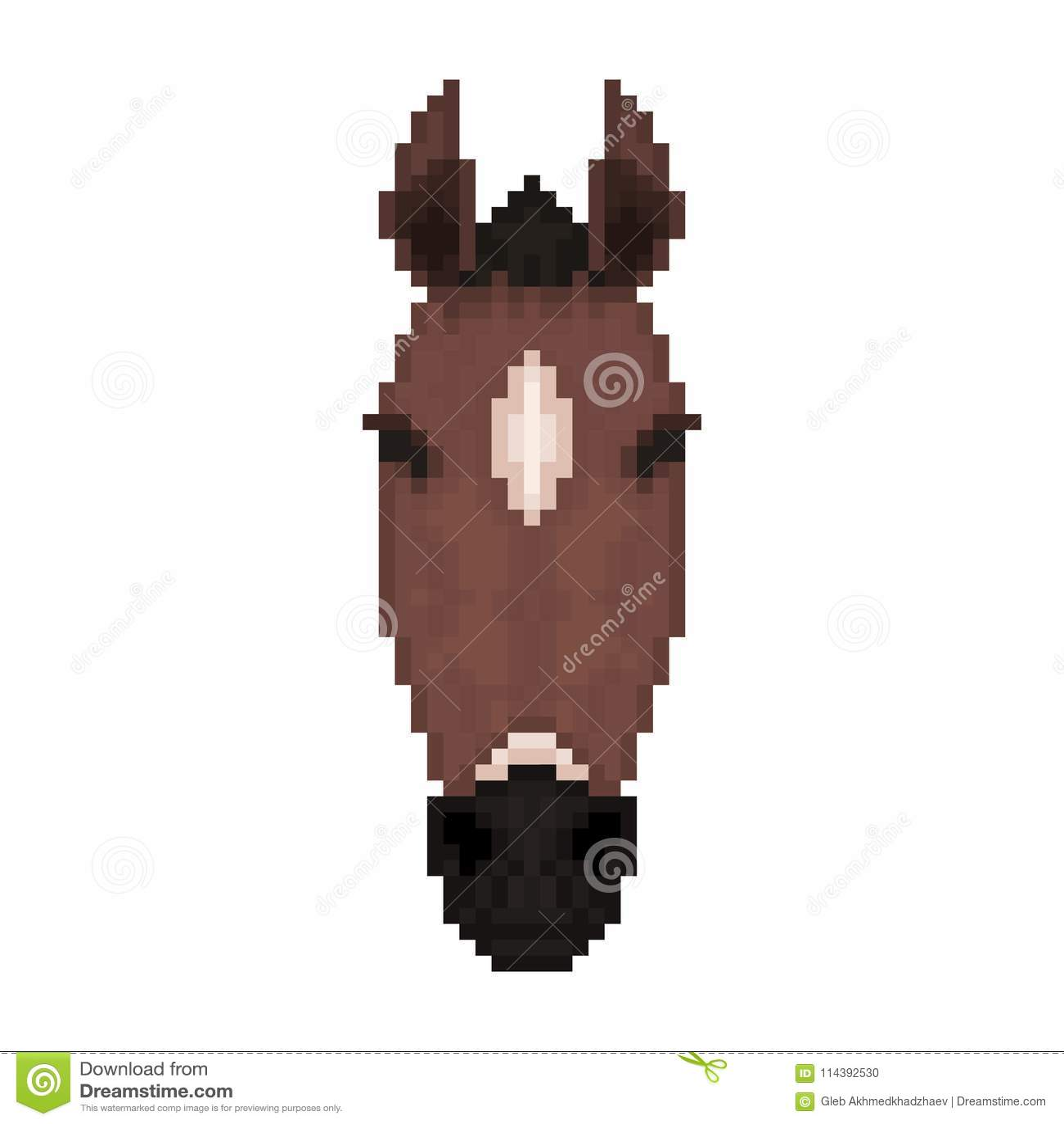 Tête De Cheval Dans Le Style Dart De Pixel Illustration De