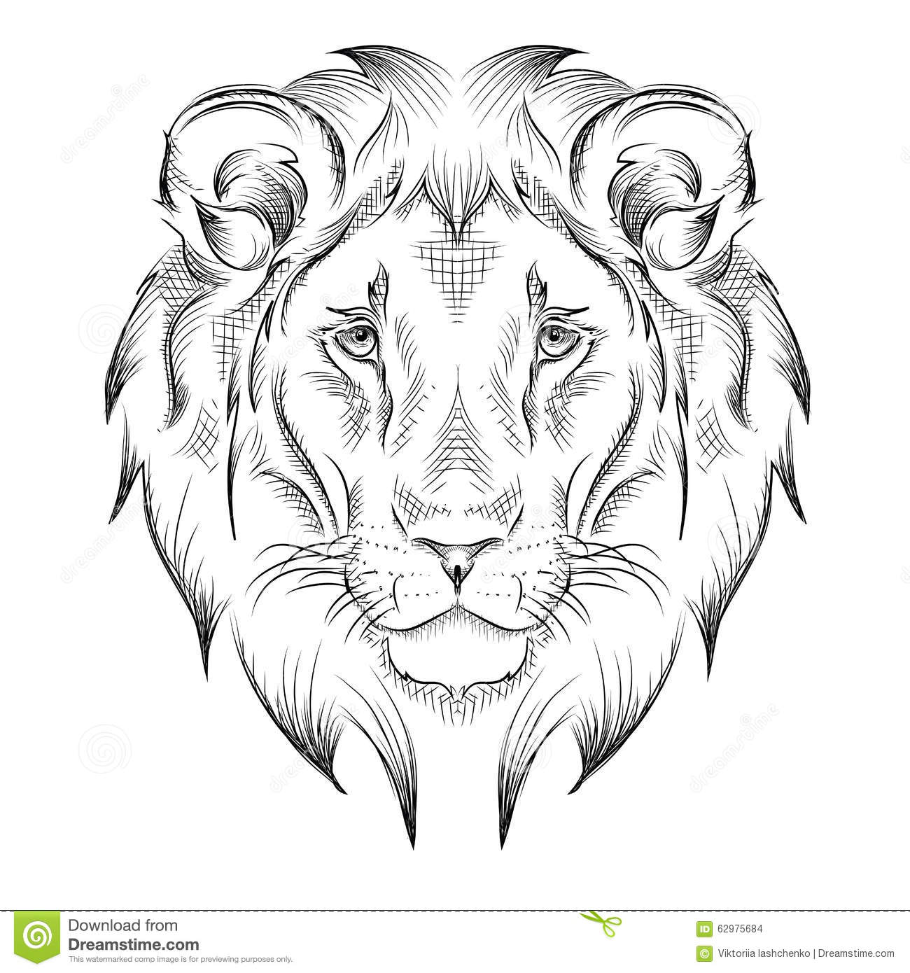 t te de dessin ethnique de main de lion conception de totem tatouage utilisation pour la copie. Black Bedroom Furniture Sets. Home Design Ideas