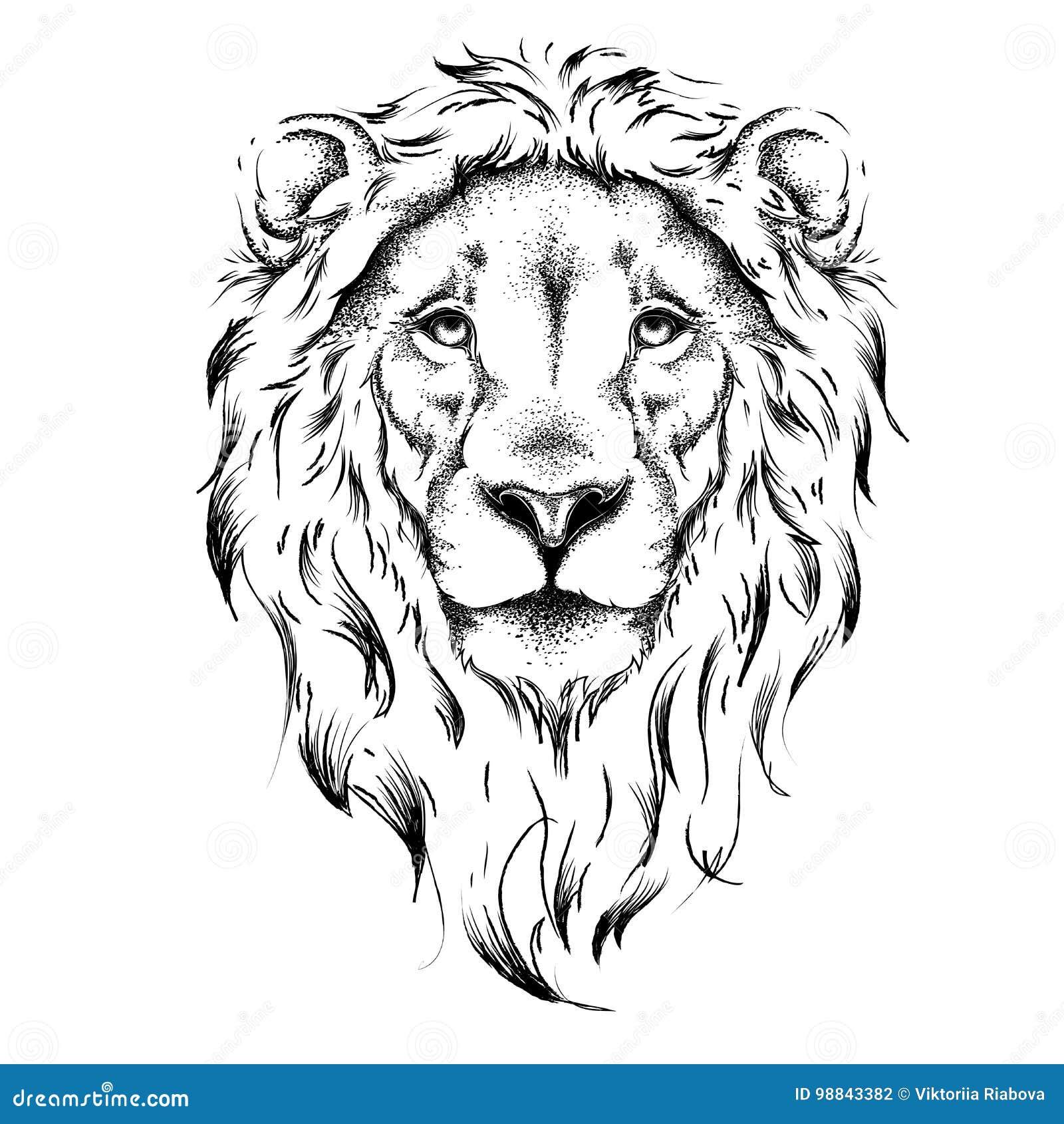 Tete De Dessin Ethnique De Main De Lion Conception De Totem Tatouage