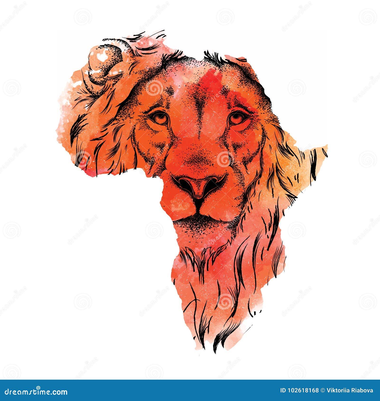 Tete De Dessin Ethnique De Main De Lion Dans La Carte De Vecteur De