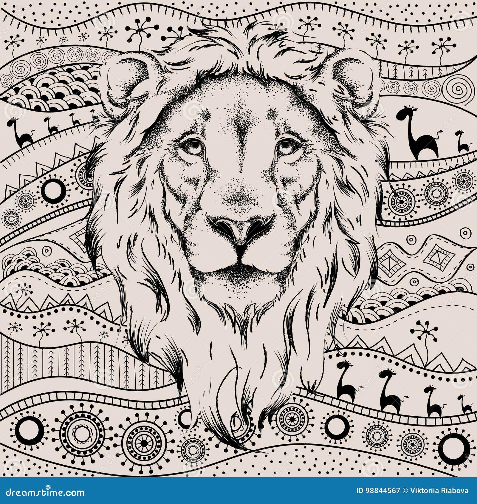 Tete De Dessin Ethnique De Main De Lion Sur Le Modele Tire Par La