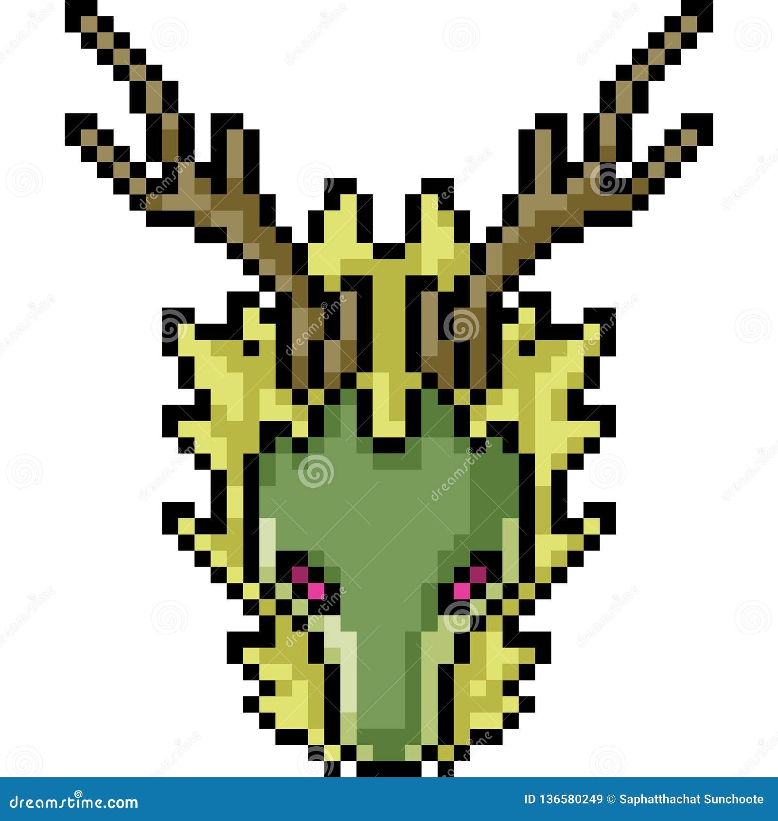 Tête De Dragon Dart De Pixel De Vecteur Illustration De