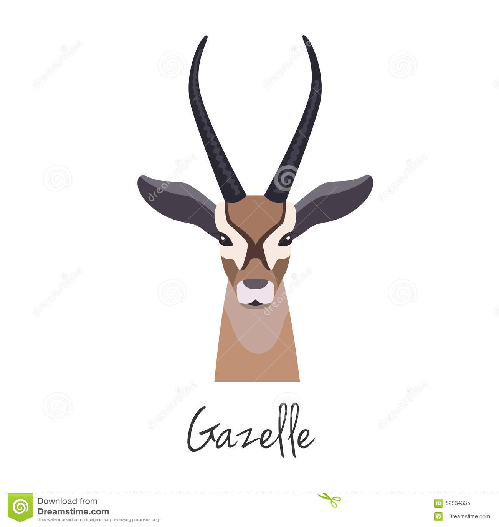 Tête de gazelle de vecteur d isolement Style plat, objet de bande dessinée