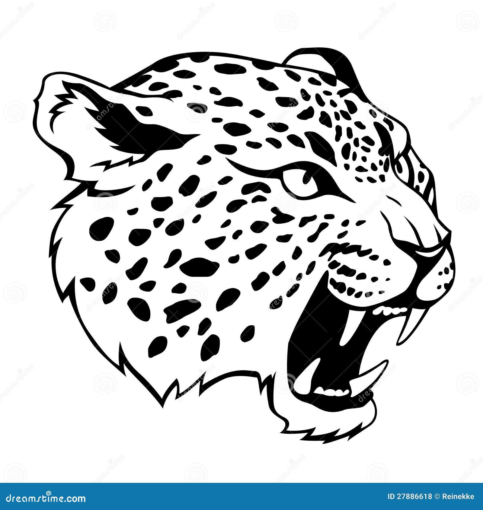 Black And White Odd Art : Tête de jaguar illustration vecteur du
