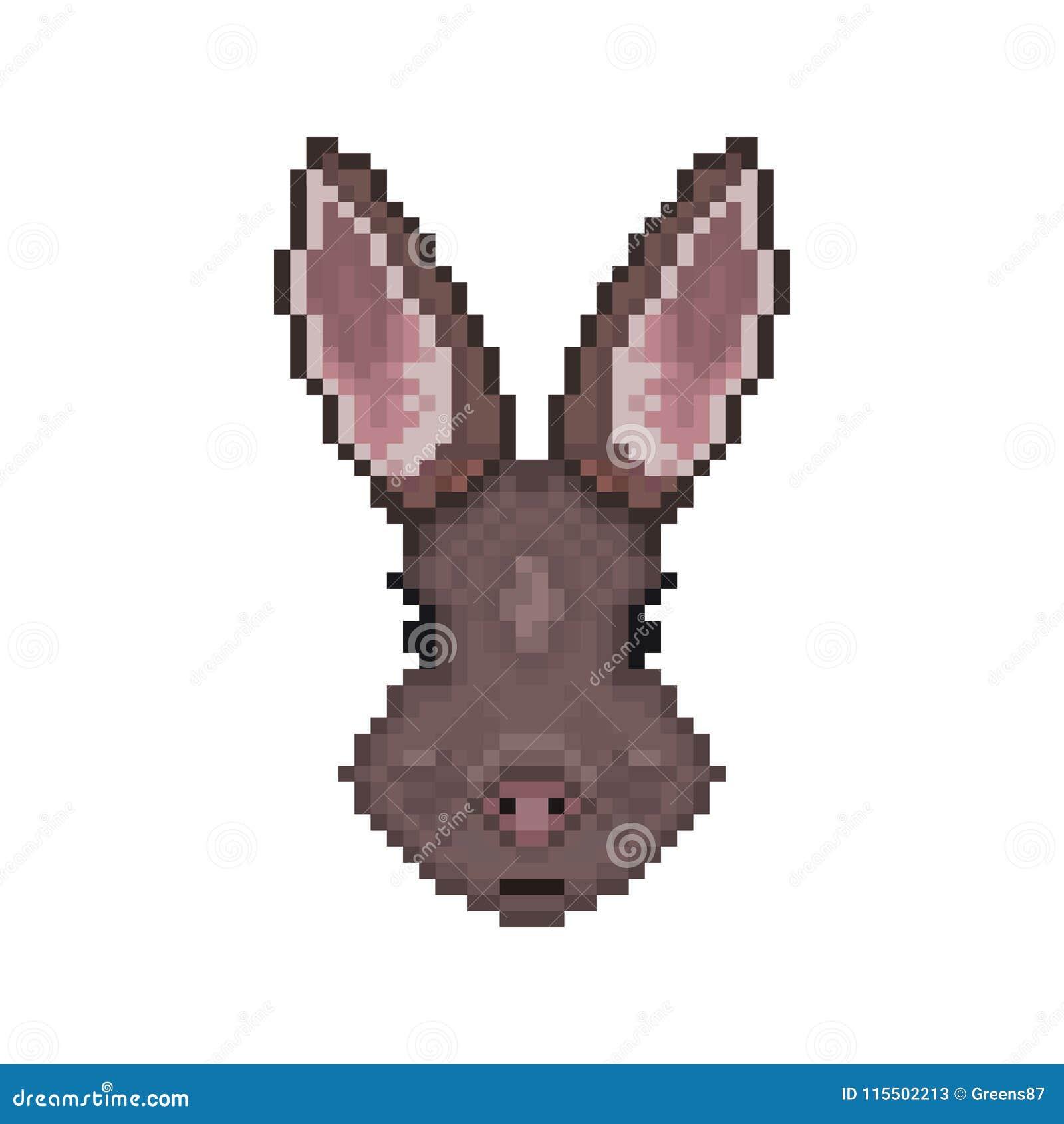 Tête De Lapin Dans Le Style Dart De Pixel Illustration De