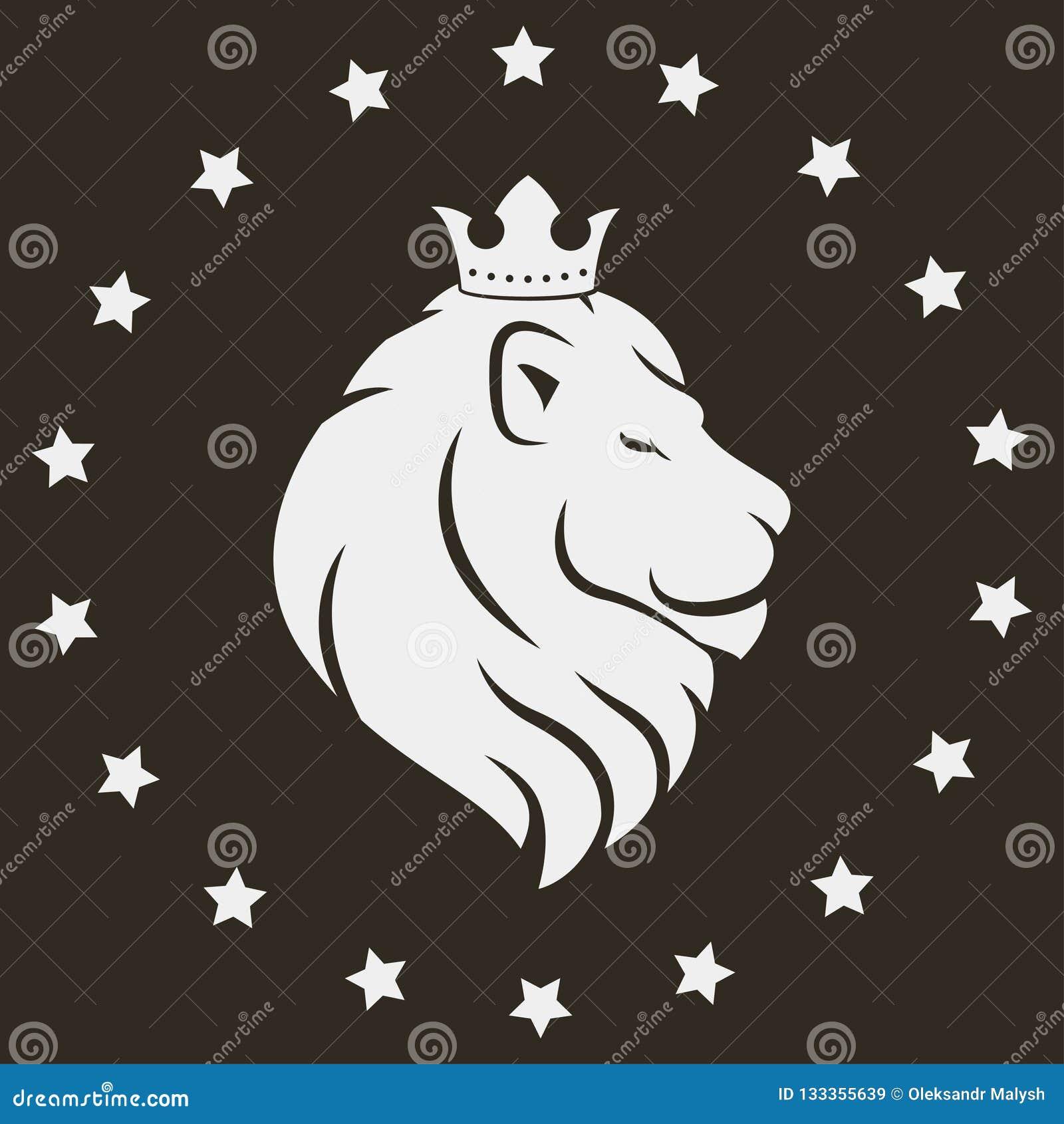 Tête de lion avec la couronne