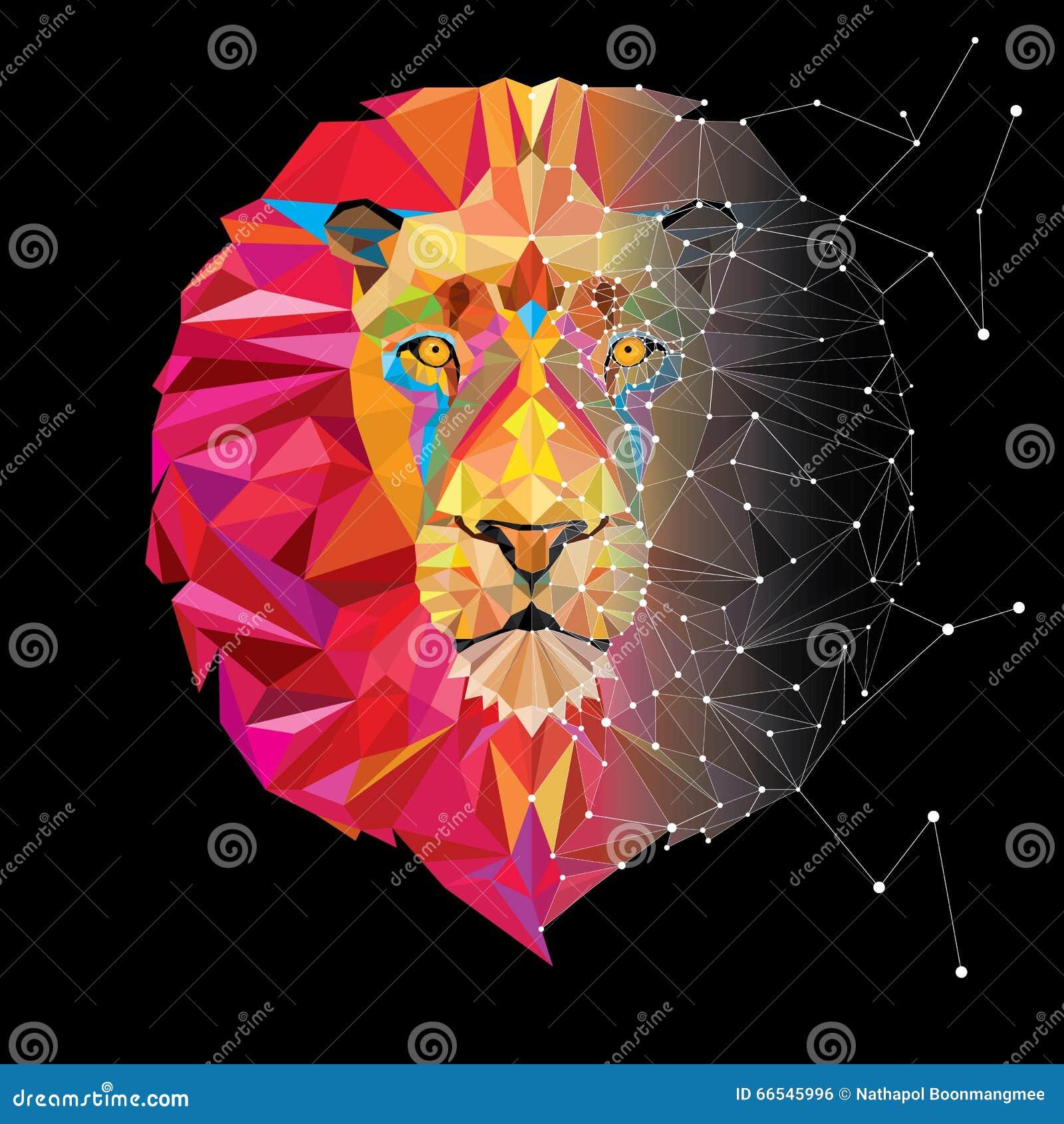 Tête De Lion Dans Le Modèle Géométrique Illustration De Vecteur