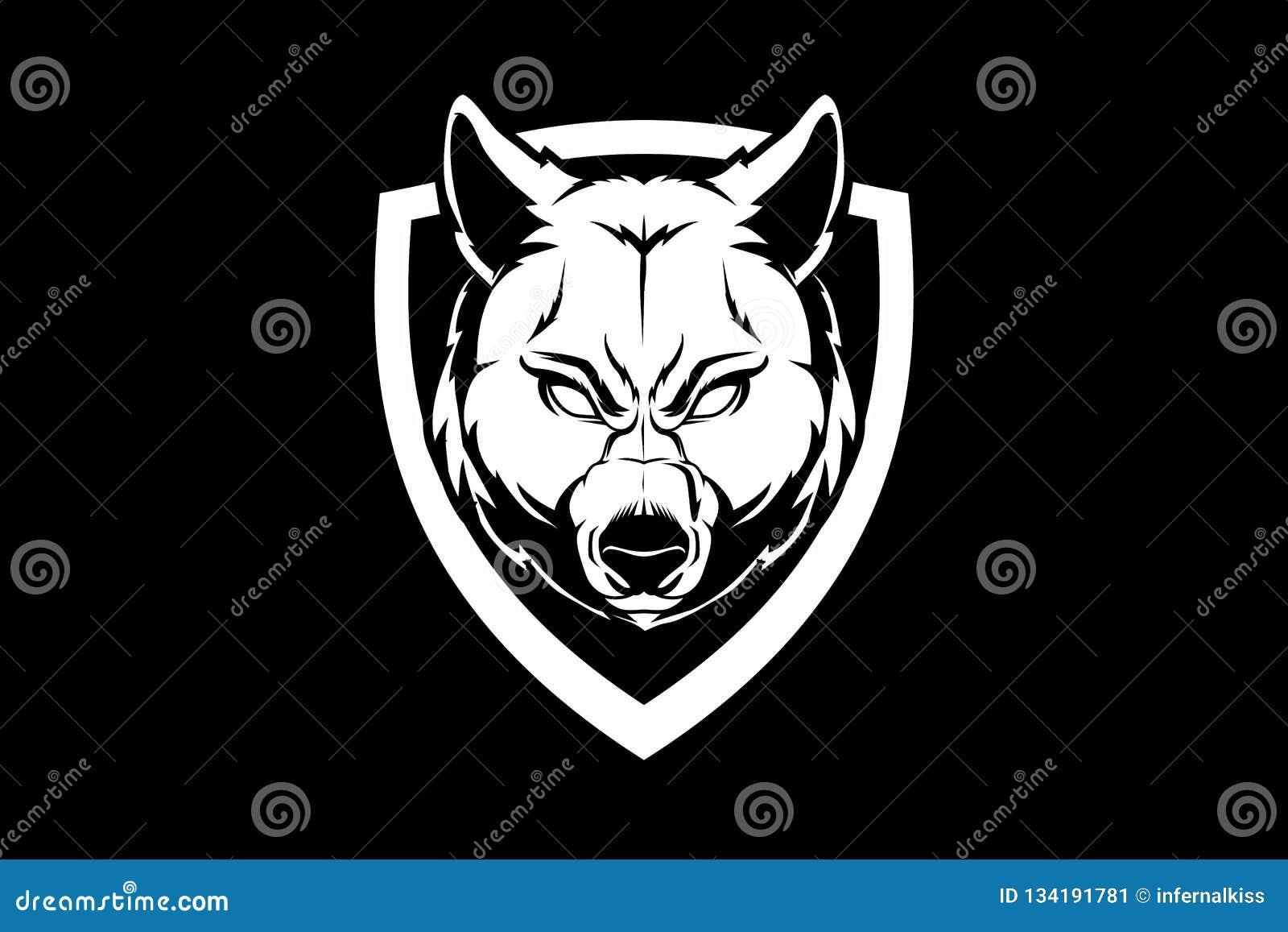 Tête de loup de bête avec le calibre noir et blanc de logo d insigne de vecteur de bouclier