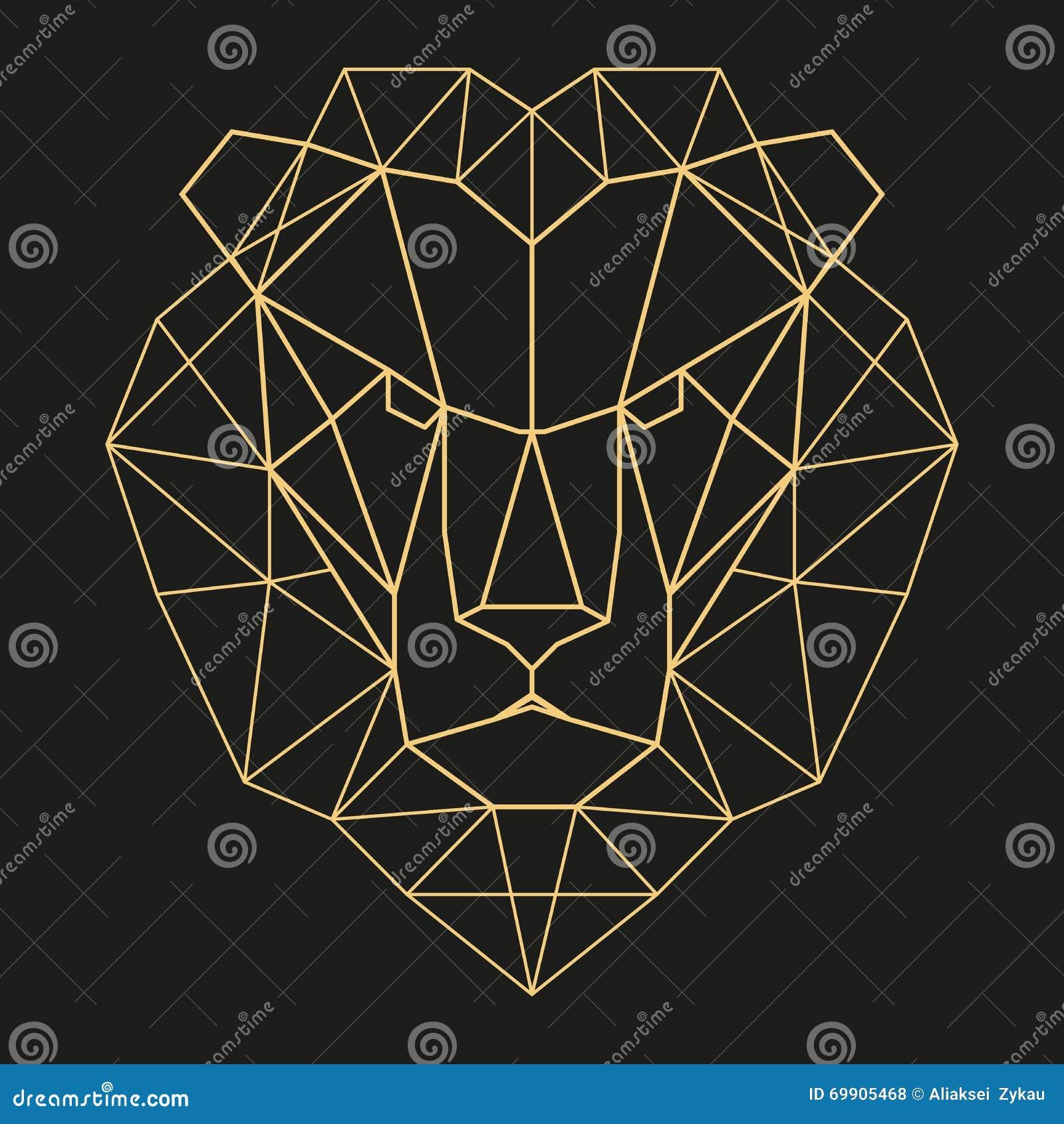 Tete Geometrique De Lion Illustration De Vecteur Illustration Du