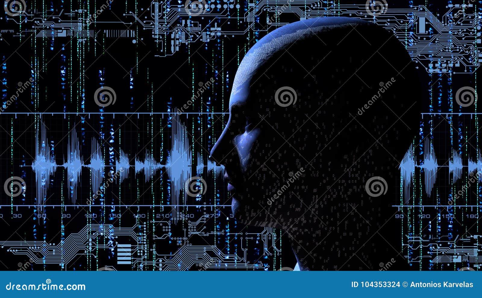 Tête humaine avec le code binaire au fond de matrice avec les circuits électroniques