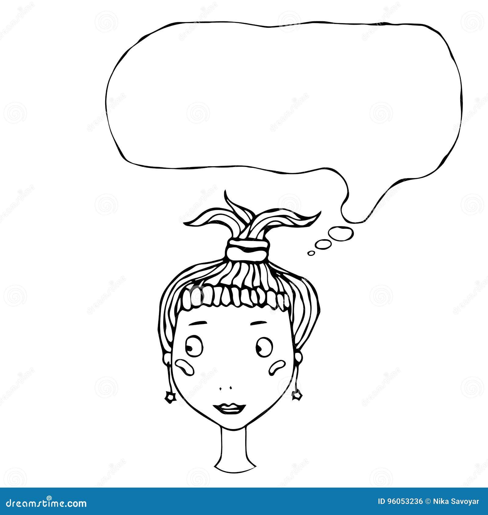 Tête mignonne de fille assez jeune de bande dessinée avec l illustration de pensée de vecteur de ballon