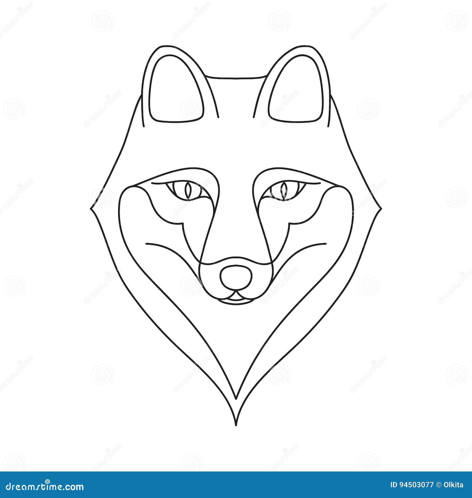 t te noire d 39 isolement d 39 ensemble de renard sur le fond blanc ligne portrait de bande dessin e. Black Bedroom Furniture Sets. Home Design Ideas
