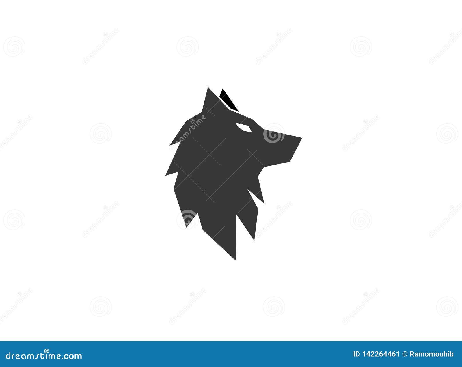 Tête ou renard de noir de loup pour le logo