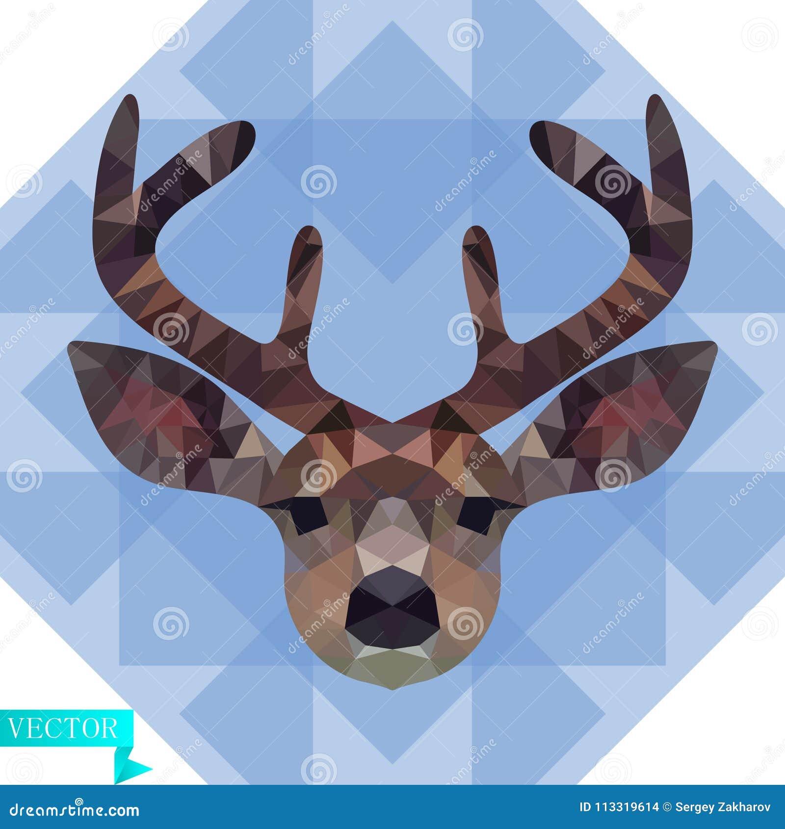 Tête polygonale d un jeune cerf commun en couleurs Dans la perspective des triangles bleues et transparentes