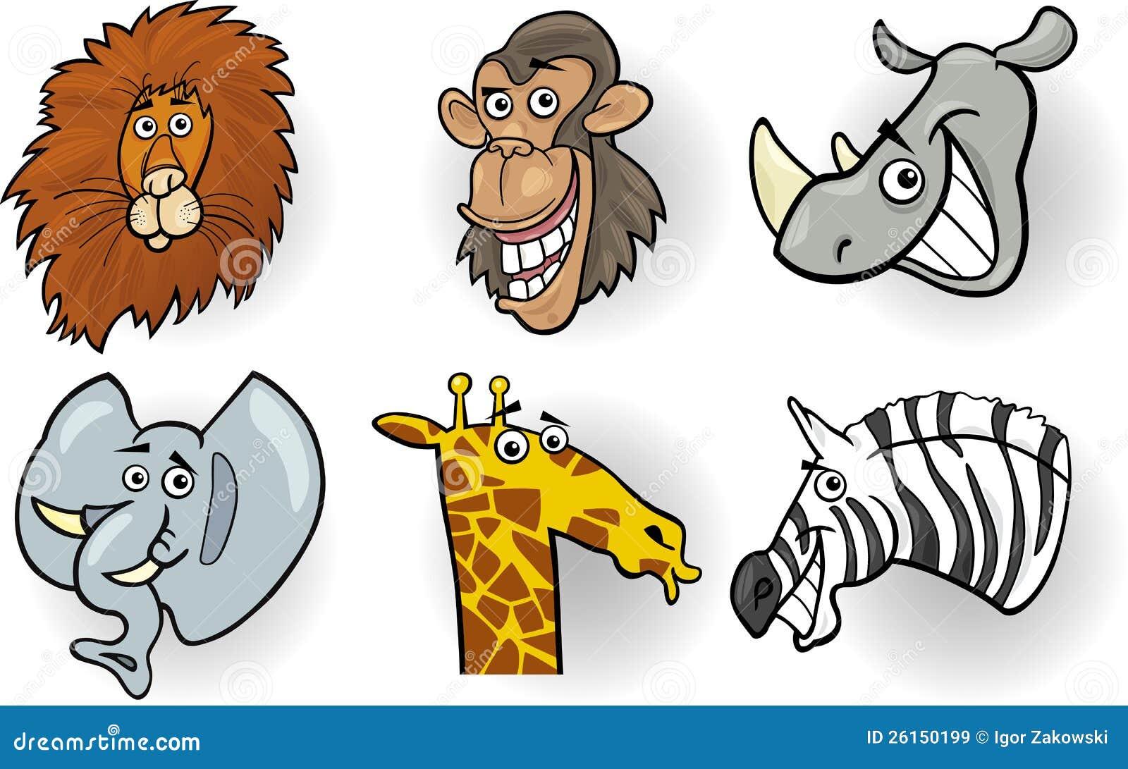 Têtes D'animaux Sauvages De Dessin Animé Réglées Illustration de Vecteur - Illustration du ...