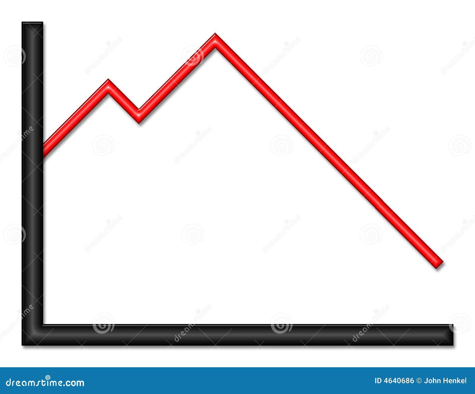 Título brilhante preto e vermelho do gráfico para baixo