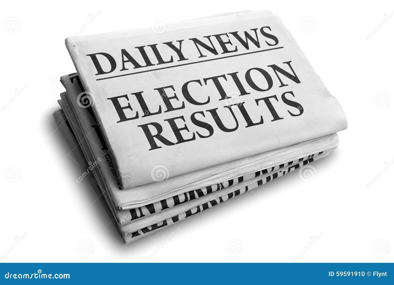 Título de jornal dos resultados de eleição