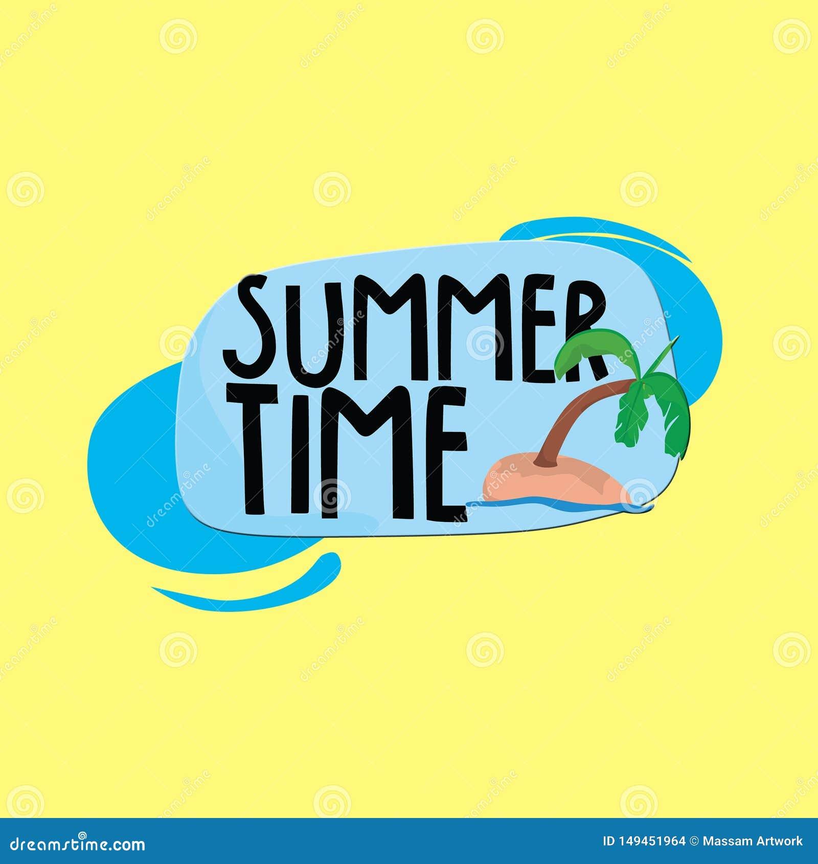T?tulo del tiempo de verano con los ?rboles de coco y el fondo amarillo