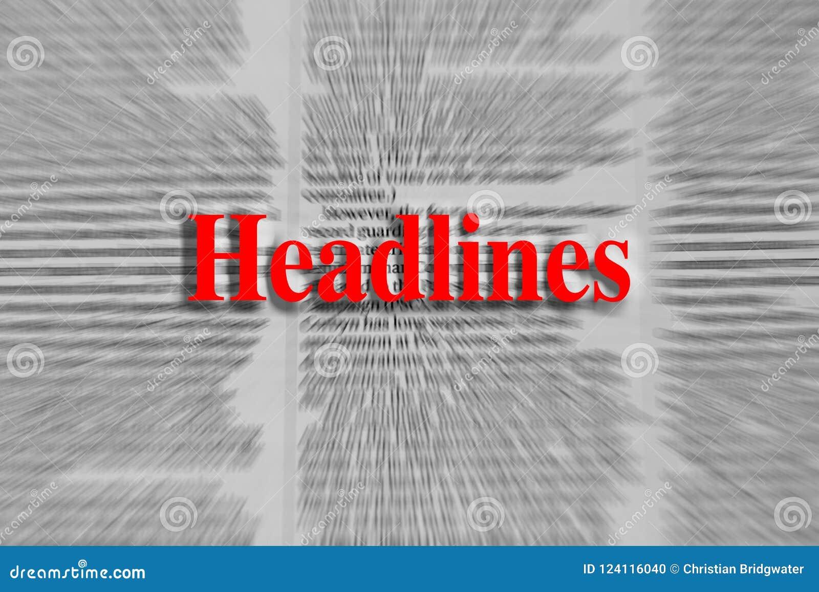 Título escritos no vermelho com um artigo de jornal borrado