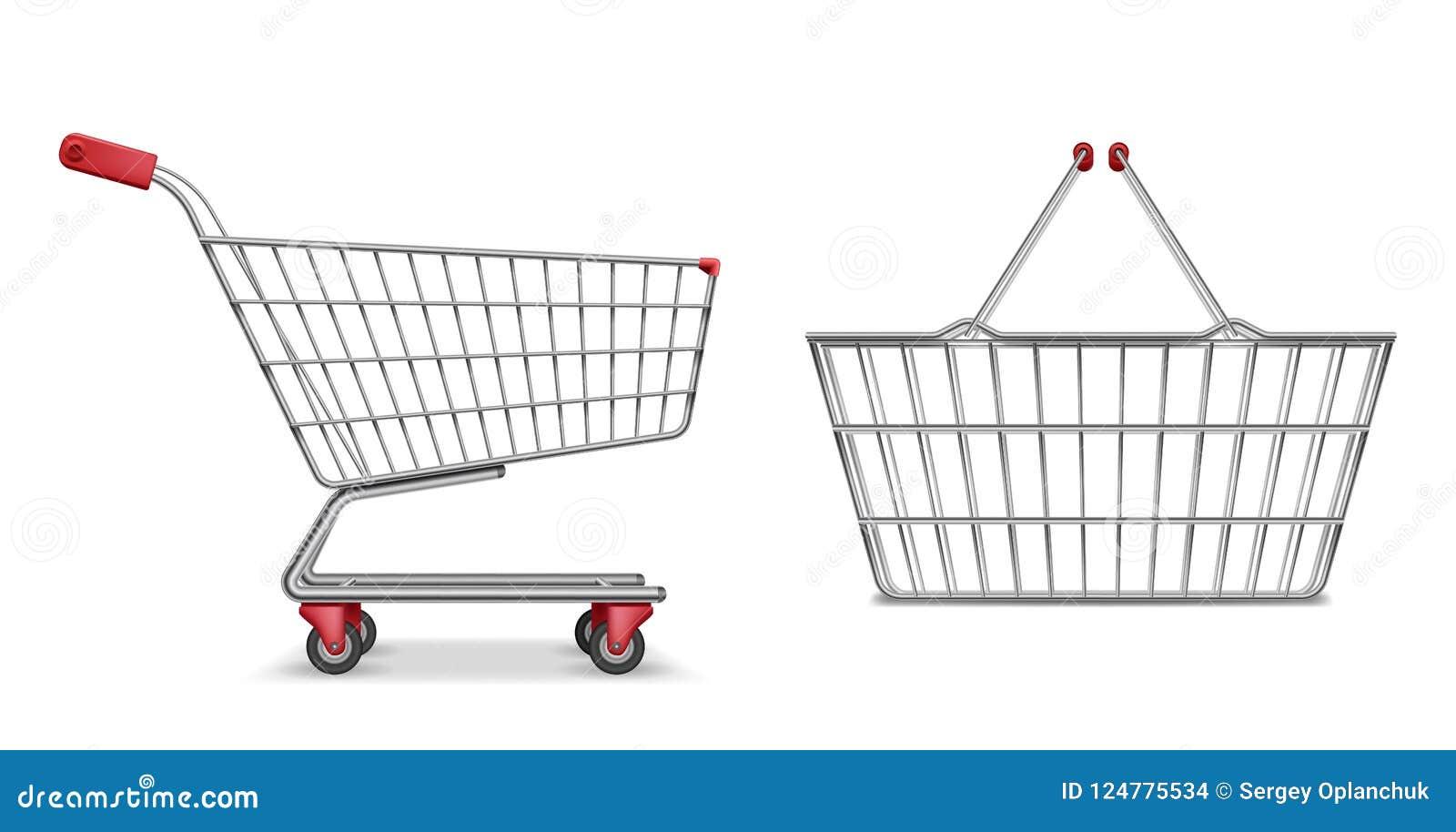 Töm den isolerade metalliska sikten för sidan för supermarketshoppingvagnen Realistisk supermarketkorg, återförsäljnings- handkär