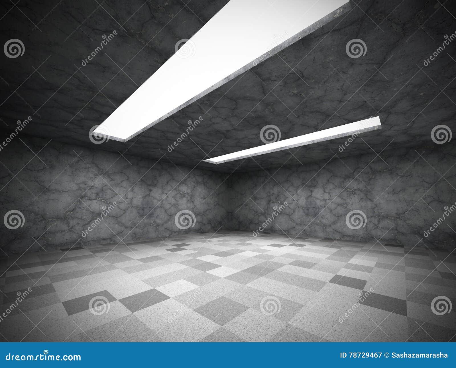 Töm mörkt rum för stads- betongväggar med takljus
