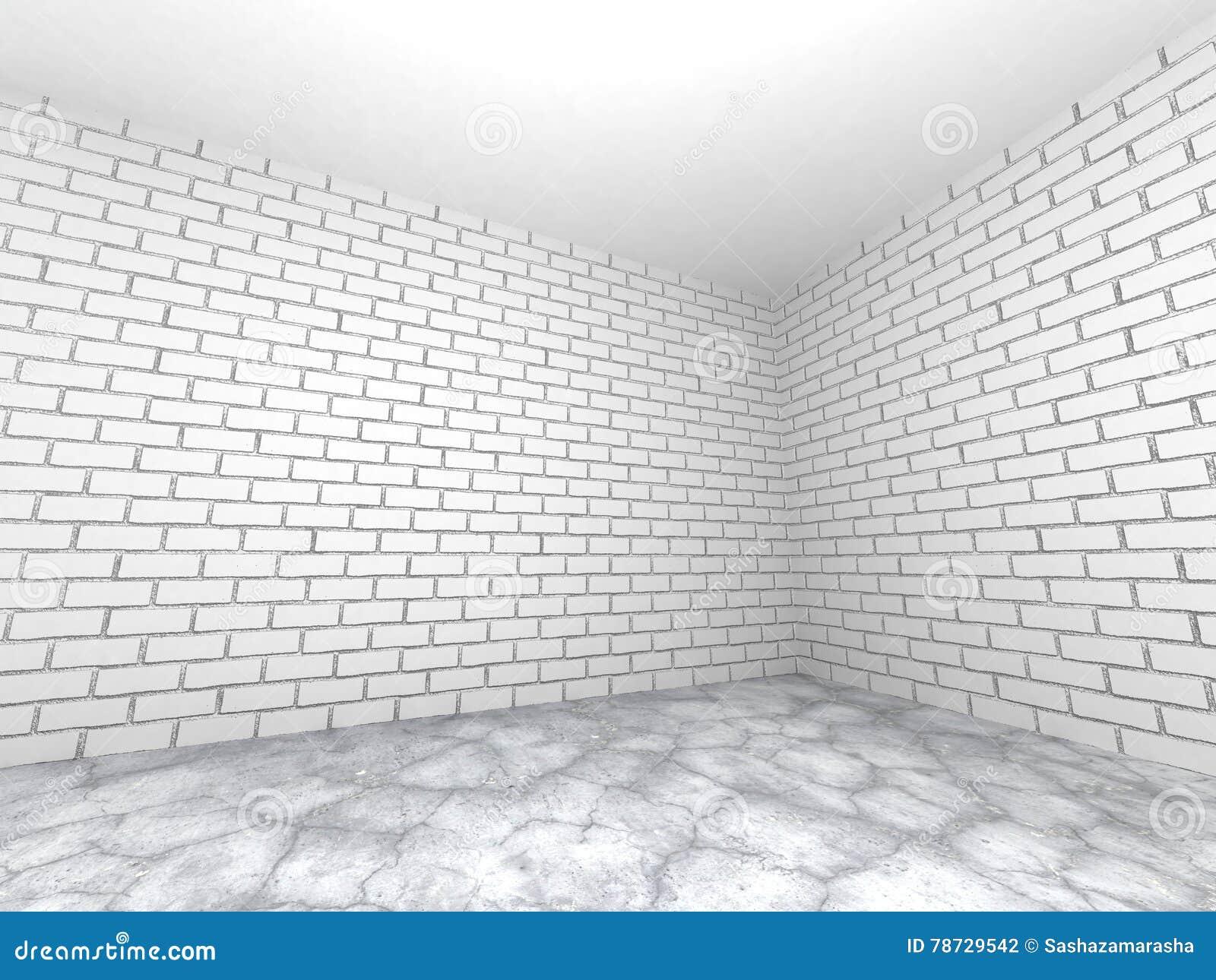 Töm ruminre med den vita tegelstenväggen och betonggolvet Ab