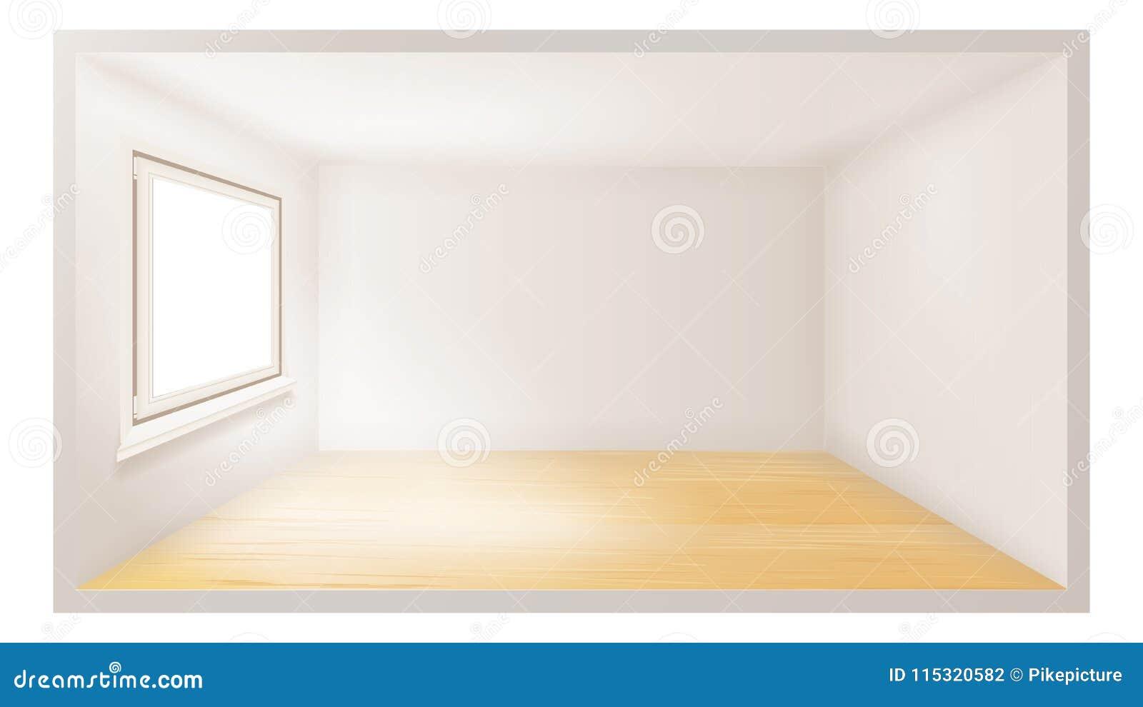 Töm rumvektorn wall white fönster för vektor för svart ramillustration plastic Arkitekturlägenhet realistisk illustration 3d