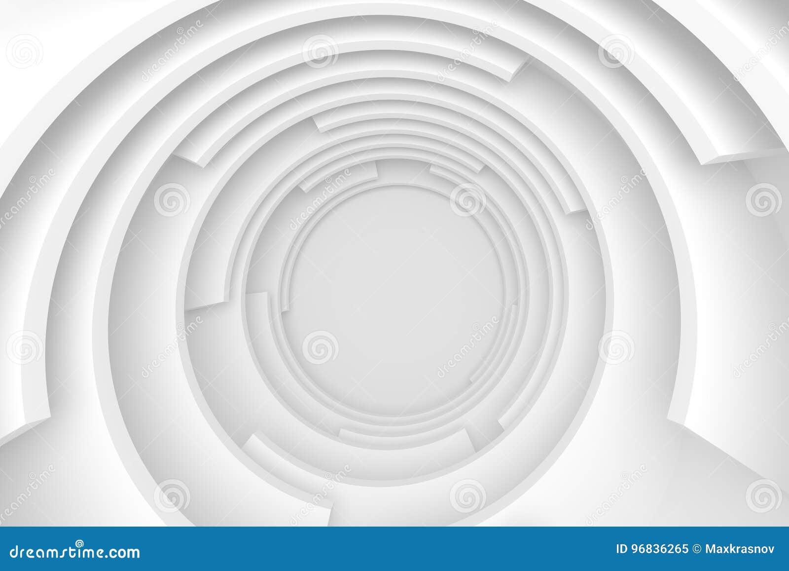Túnel abstrato branco Projeto moderno circular