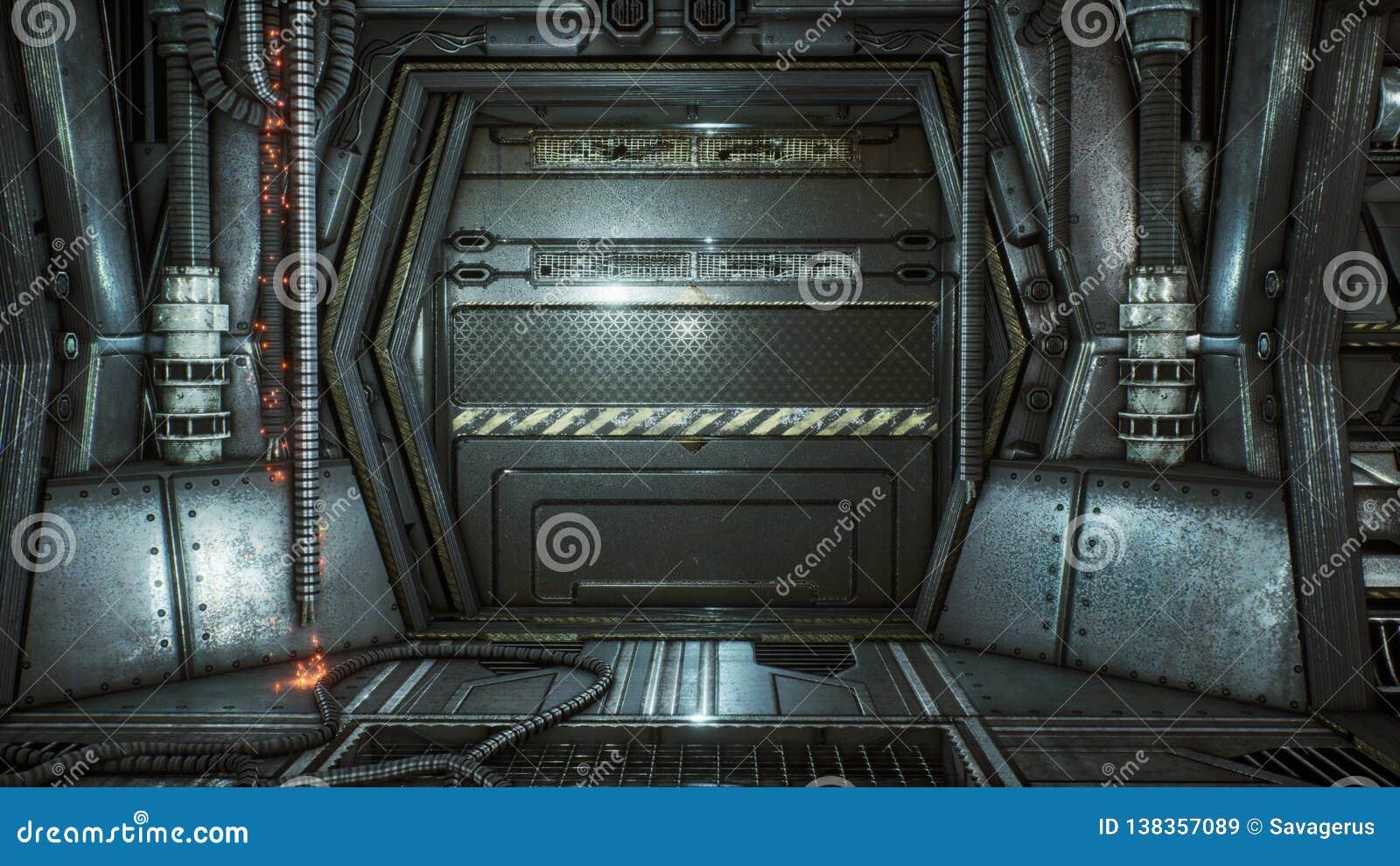 Túnel futurista da ficção científica com faíscas e fumo, vista interior rendição 3d