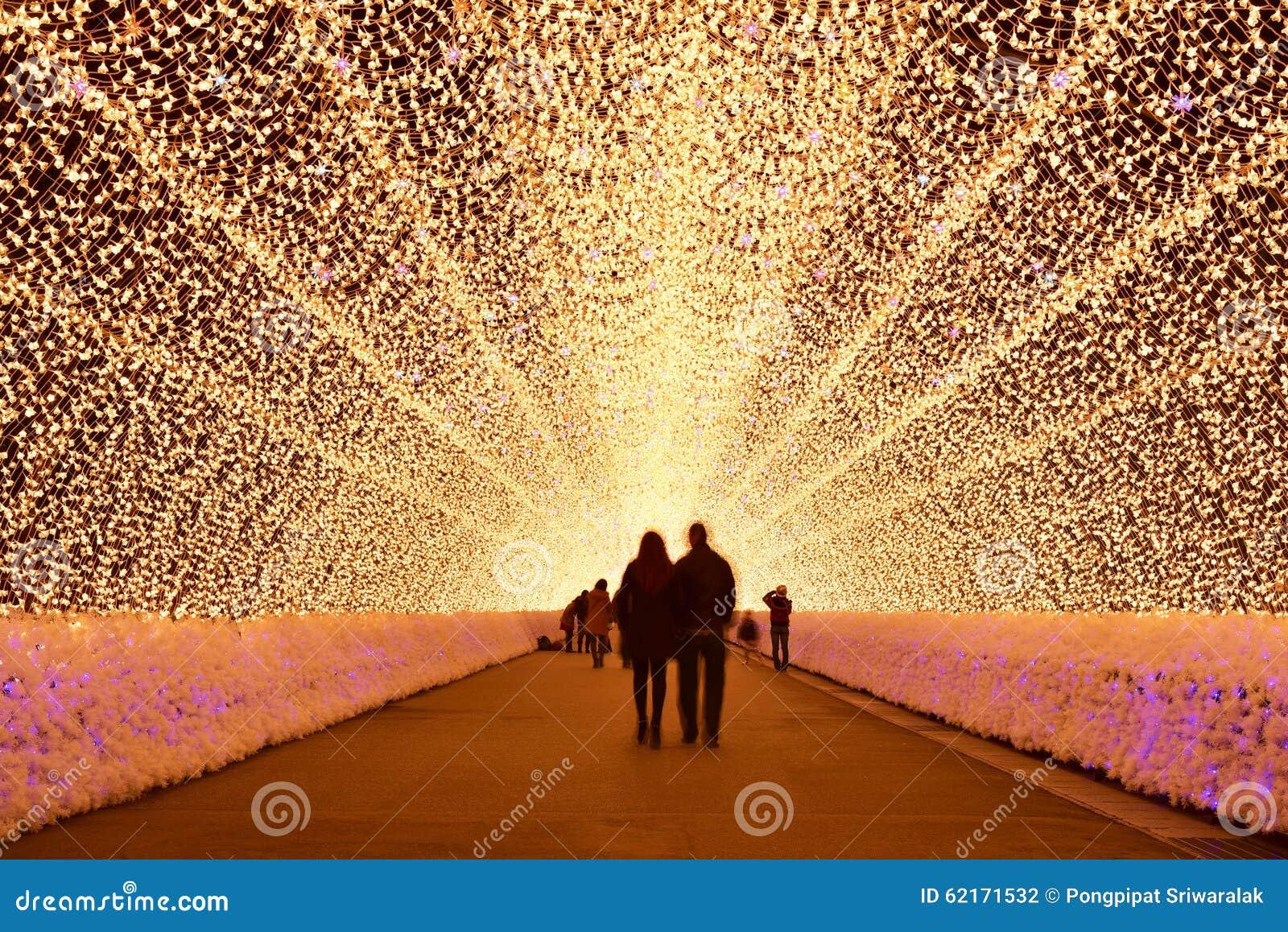 Túnel ligero en la iluminación del invierno, Mie, Japón