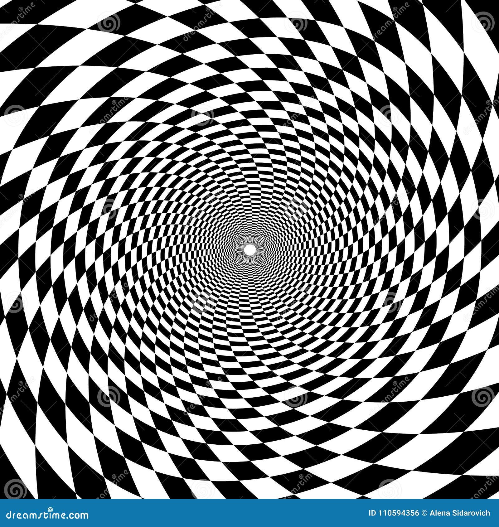 Túnel psicodélico, modelo en blanco y negro, triunfo del tablero de ajedrez