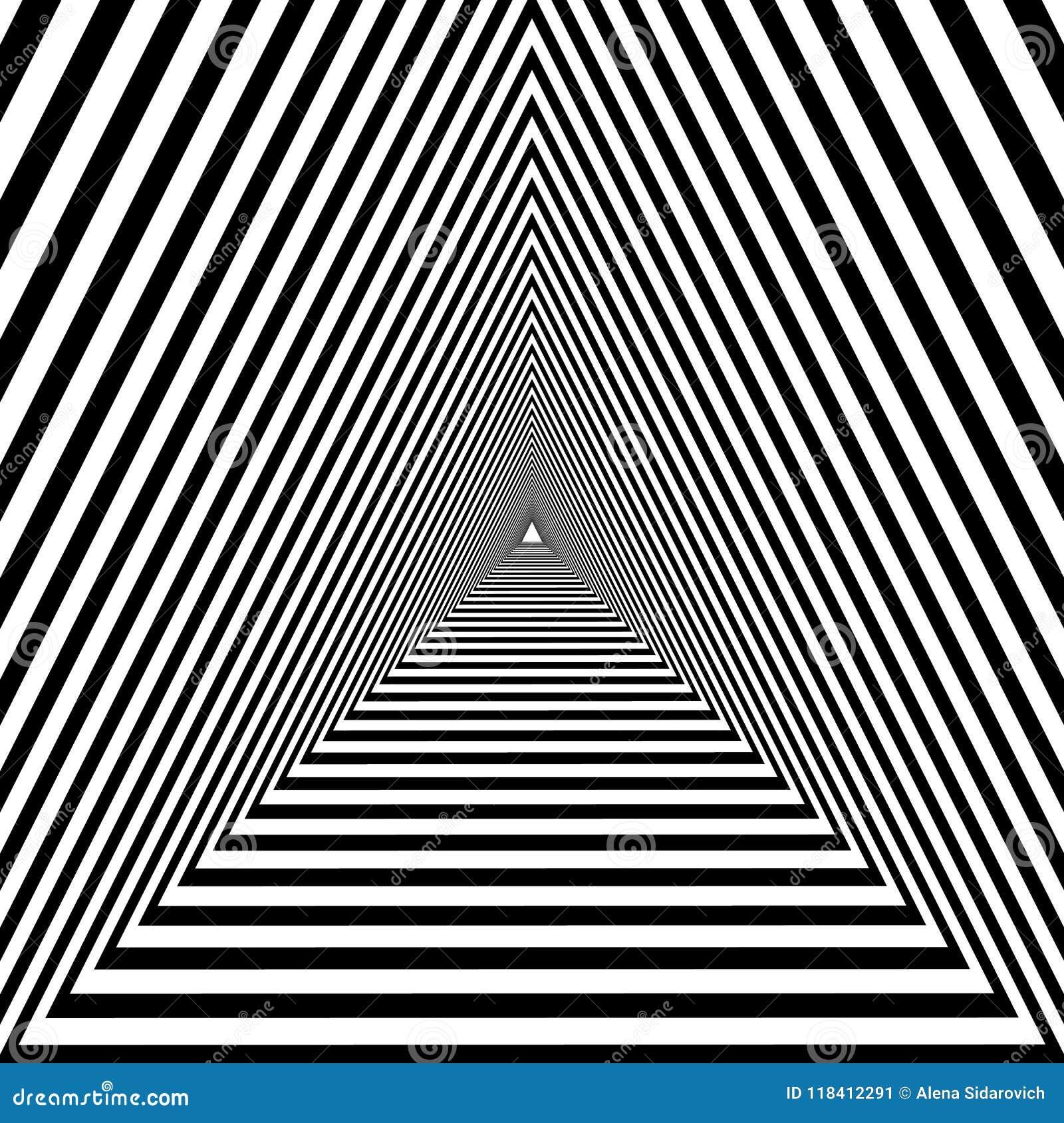 Túnel triangular, óptico psicodélico geométrico blanco y negro