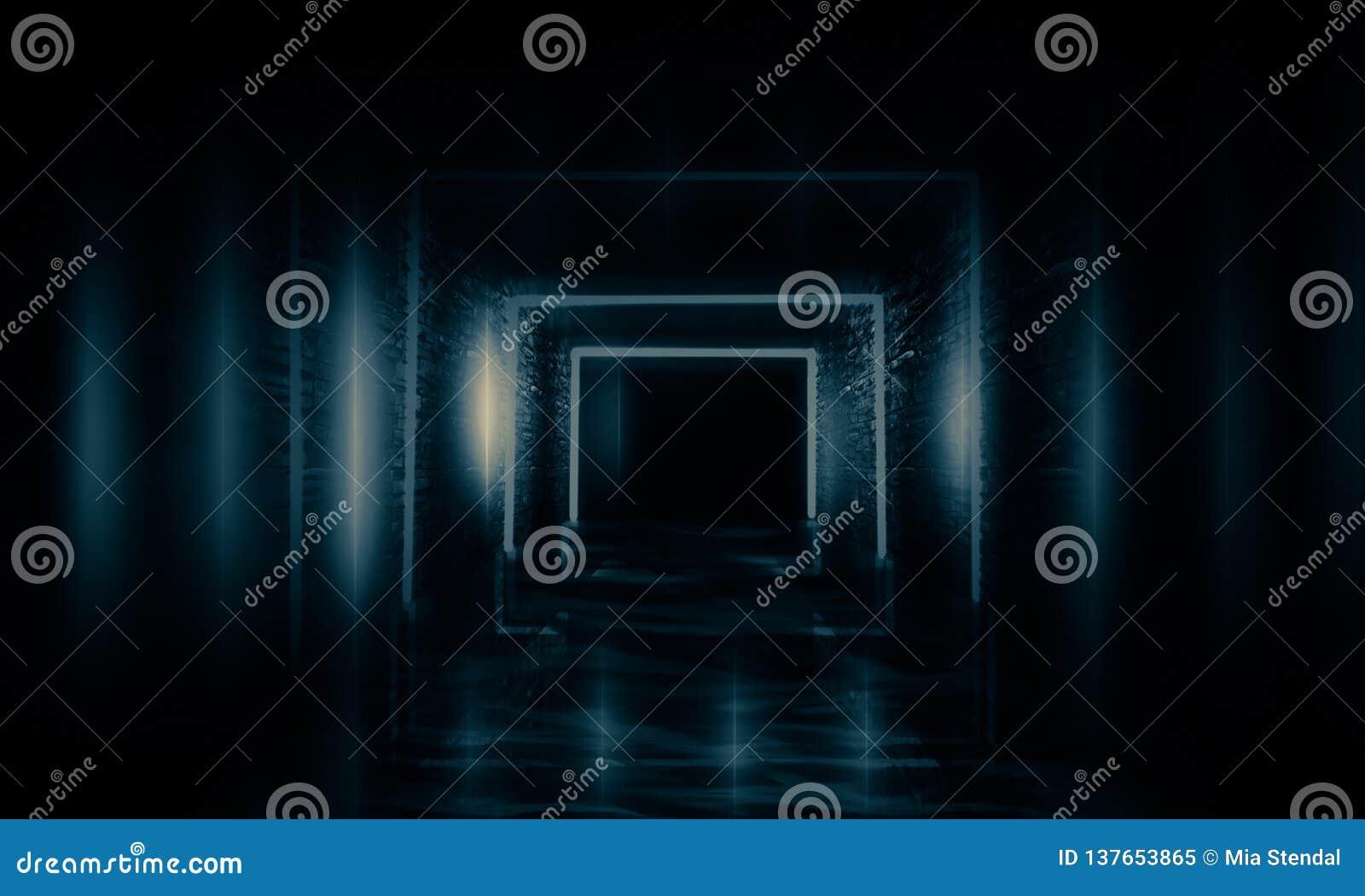 Túnel vazio, velho abstrato, corredor, arco, sala escura, iluminação de néon, fumo grosso, poluição atmosférica