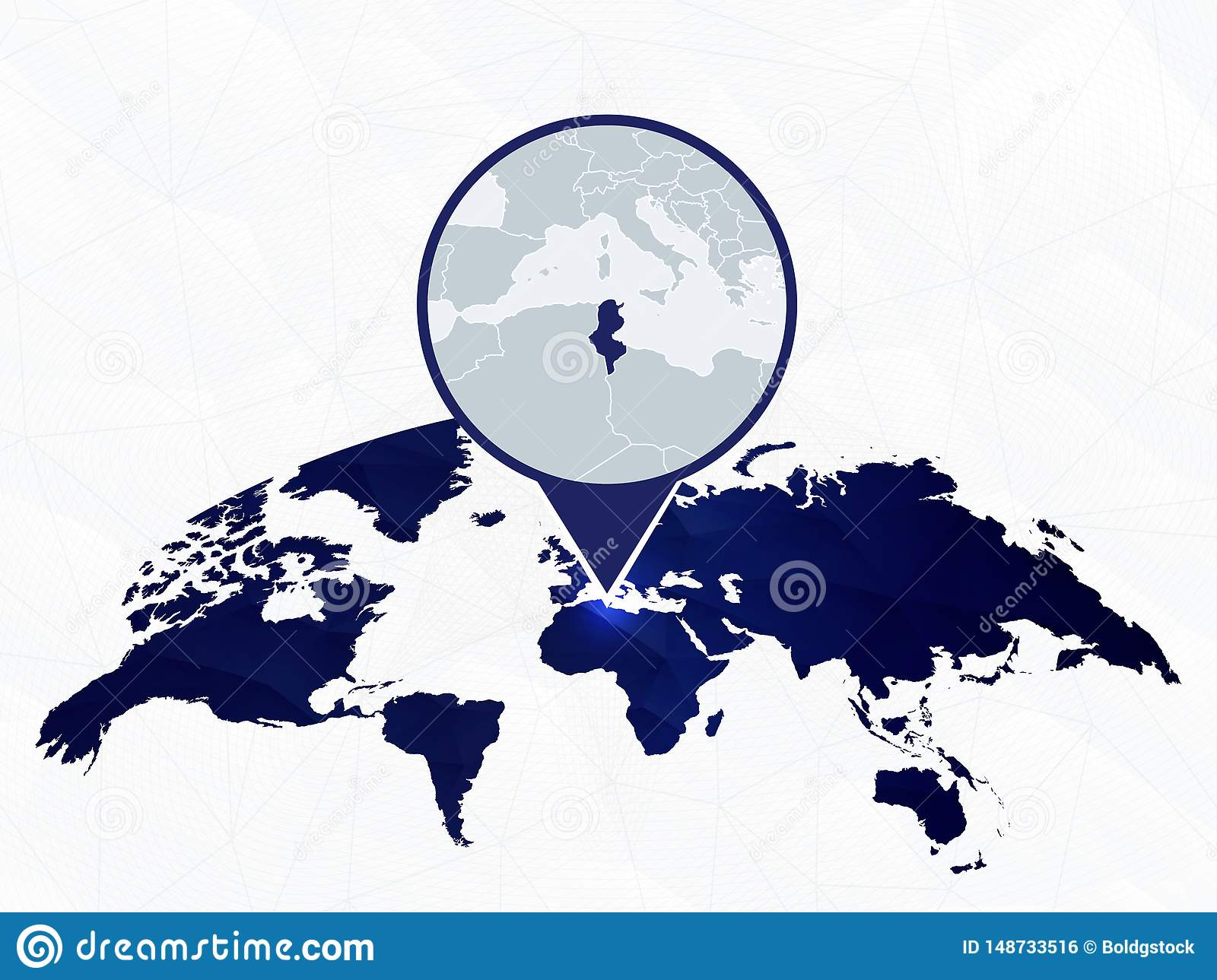 Picture of: Tunisia Detailed Map Highlighted On Blue Rounded World Map Ilustracion Del Vector Ilustracion De World Highlighted 148733516