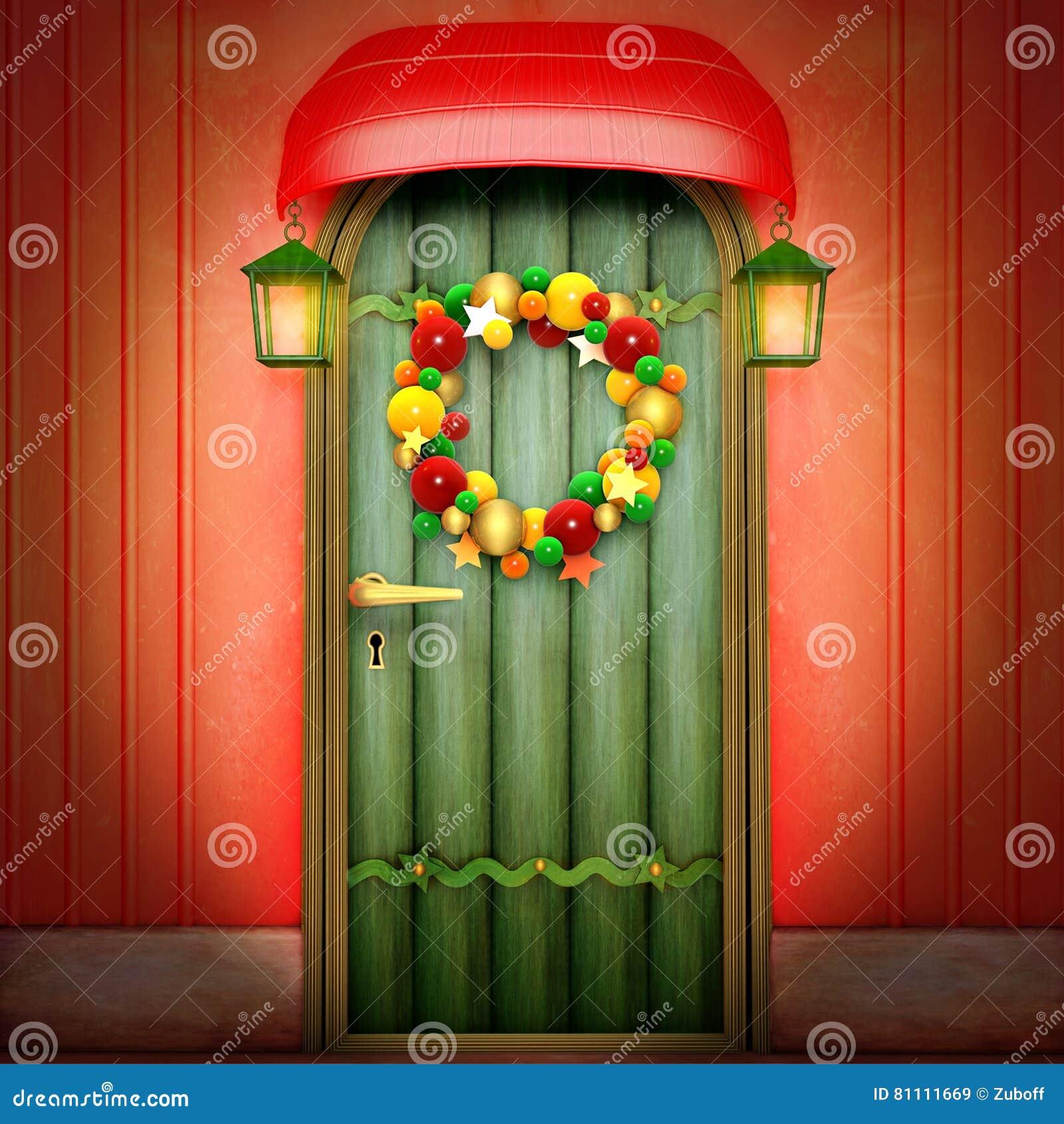 Tür mit Weihnachtswreath