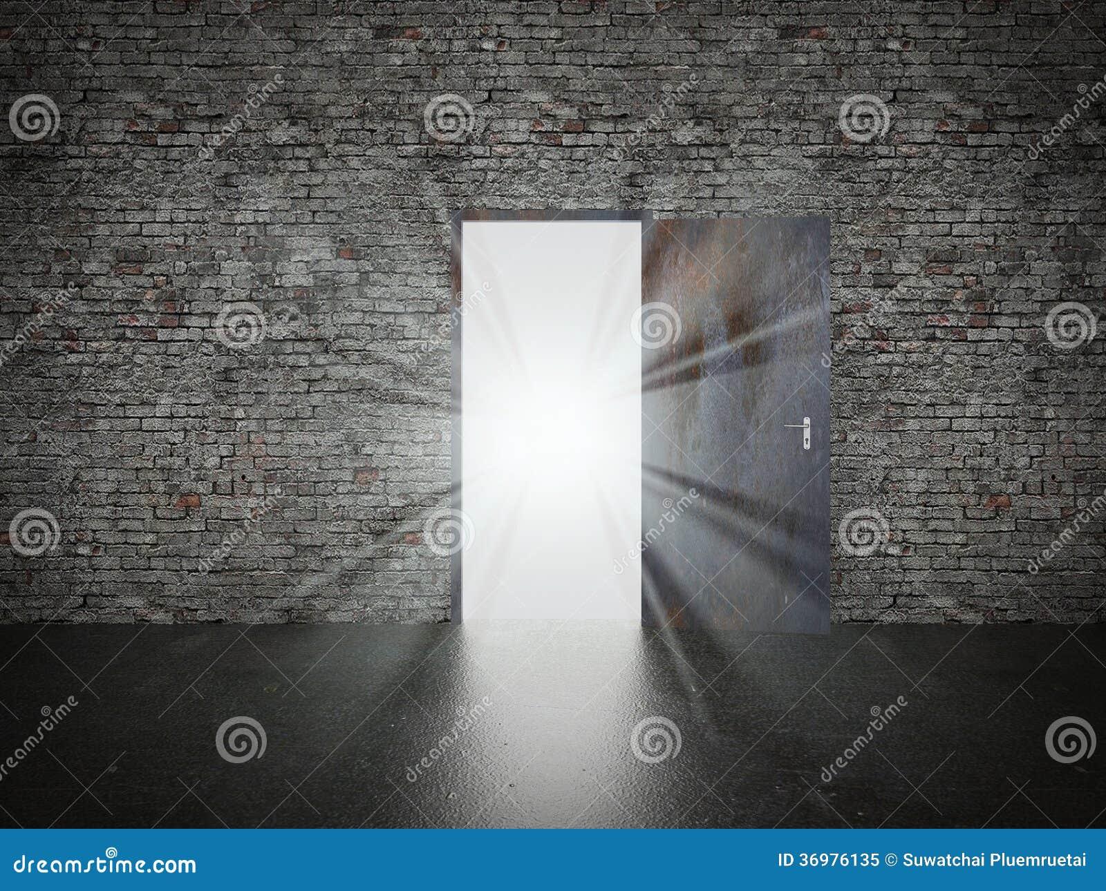 3d Fußboden Material ~ Tür offen auf backsteinmauer d stock abbildung illustration
