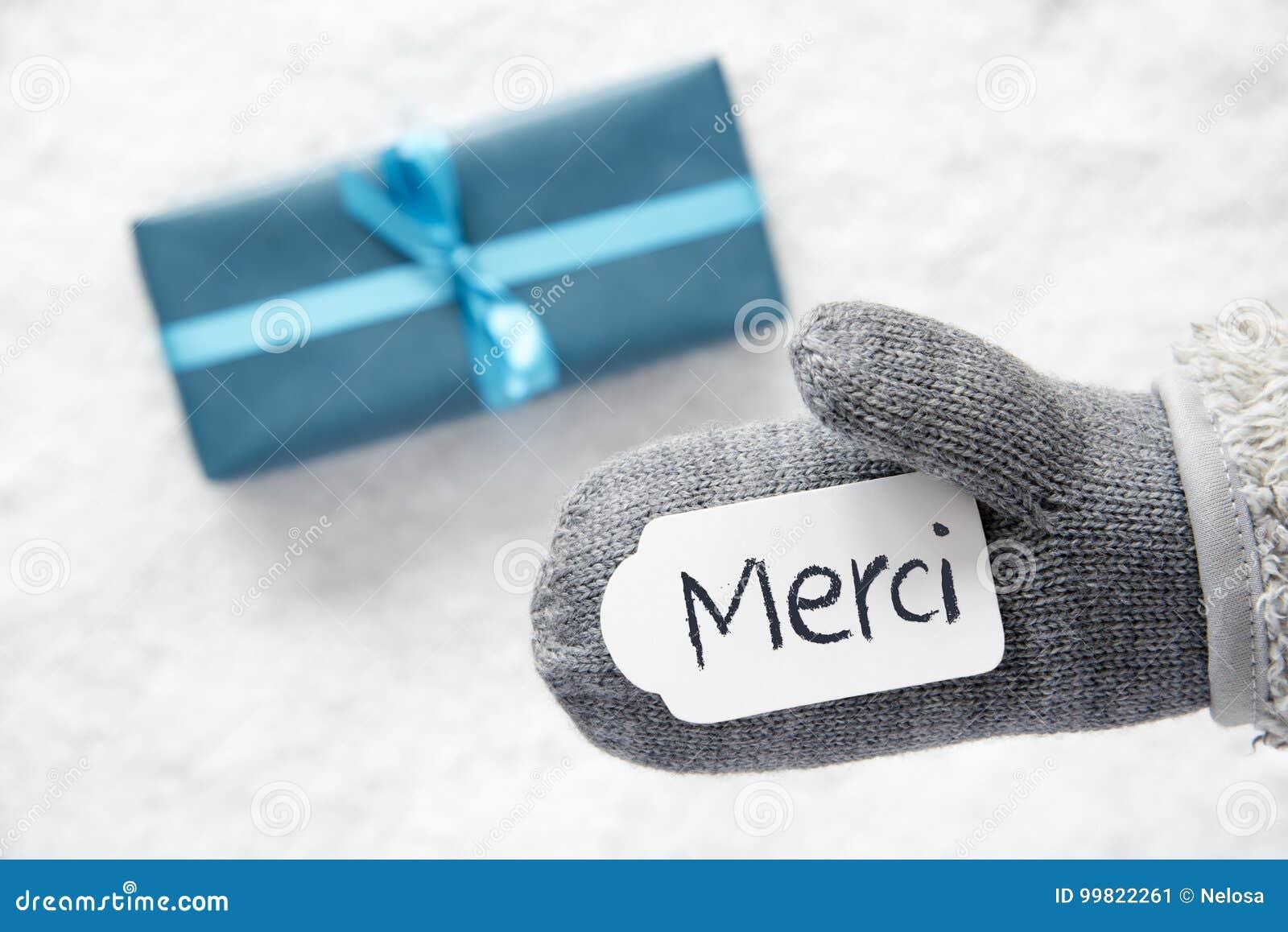 Türkis-Geschenk, Handschuh, Merci-Durchschnitte Danken Ihnen ...