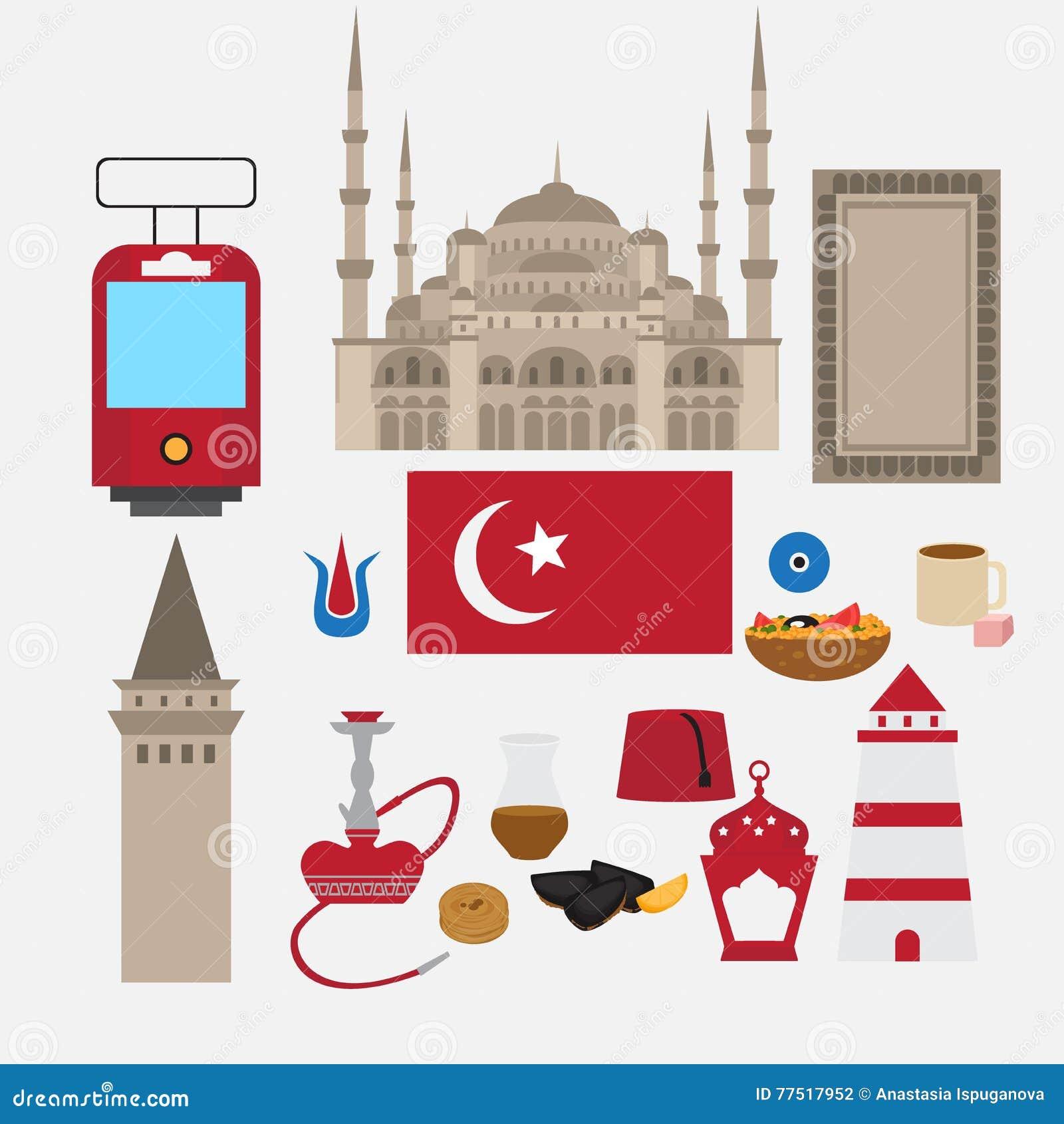 Türkische flache Bühnenbildelemente, Markstein von Istanbul, die Türkei Symbole, Architektur und Lebensmittel
