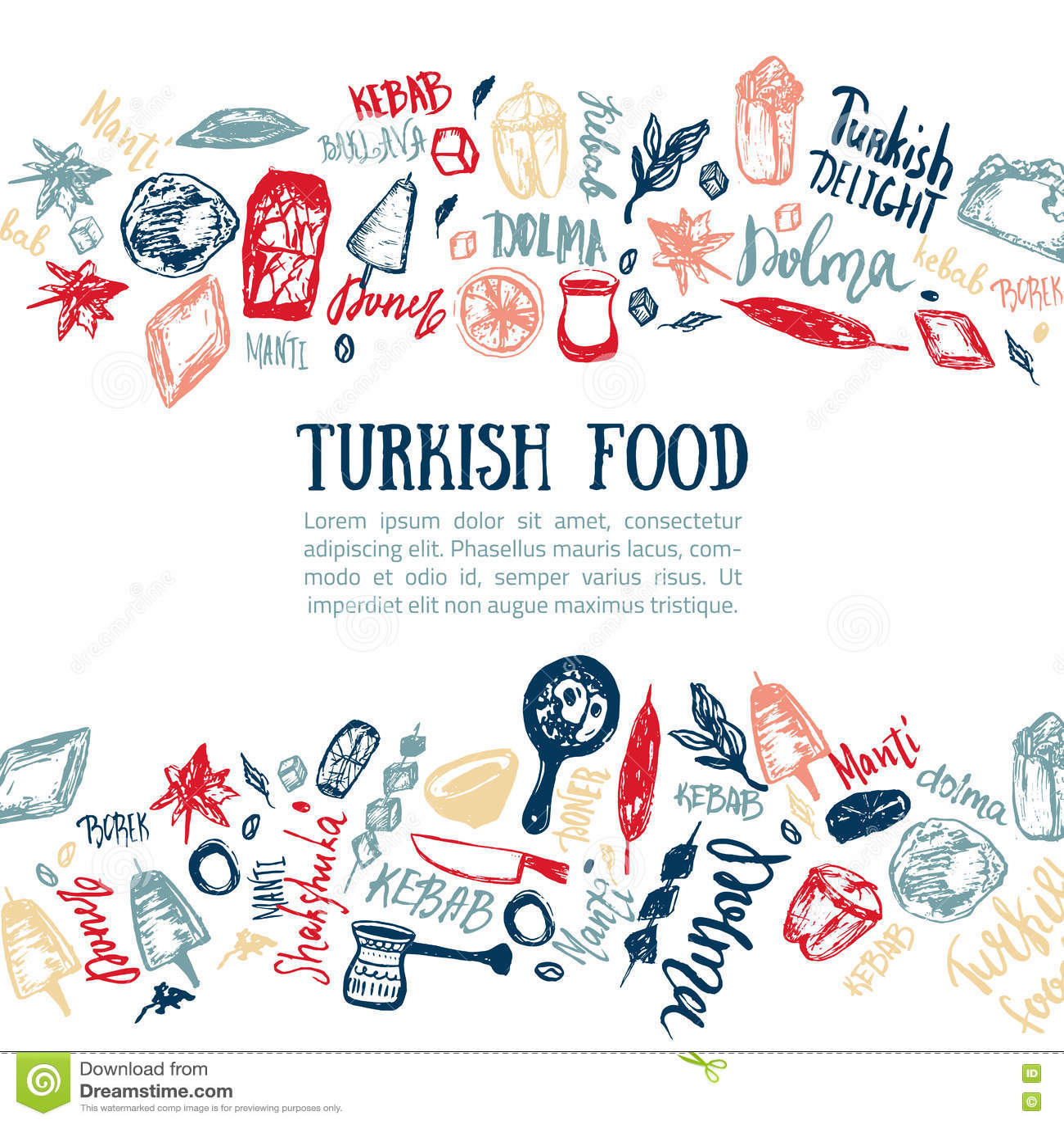 Türkische Gezeichneter Satz Des Lebensmittels Hand Mit Beschriftung ...