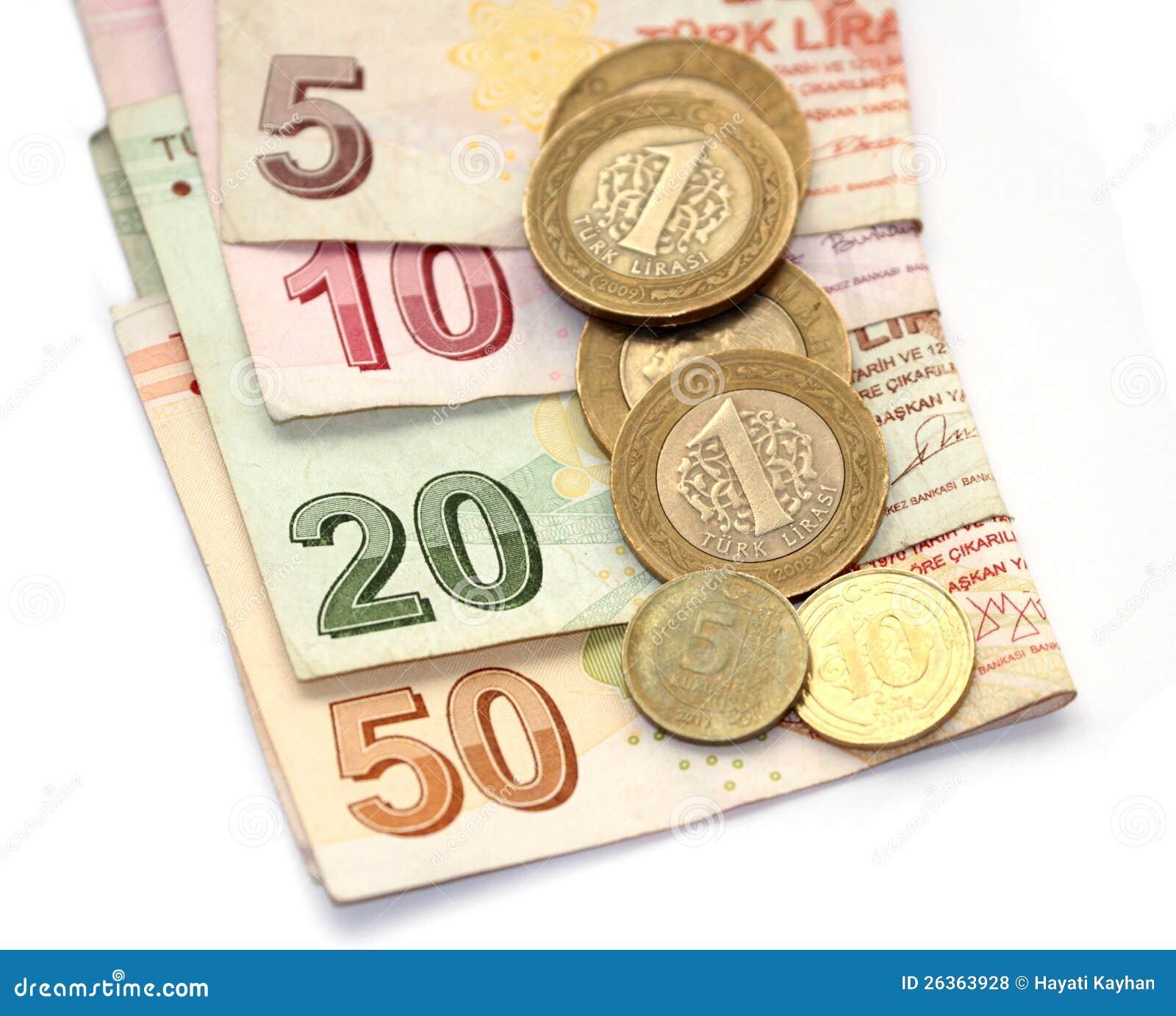 Türkische Liramünzen und gefaltete Banknoten