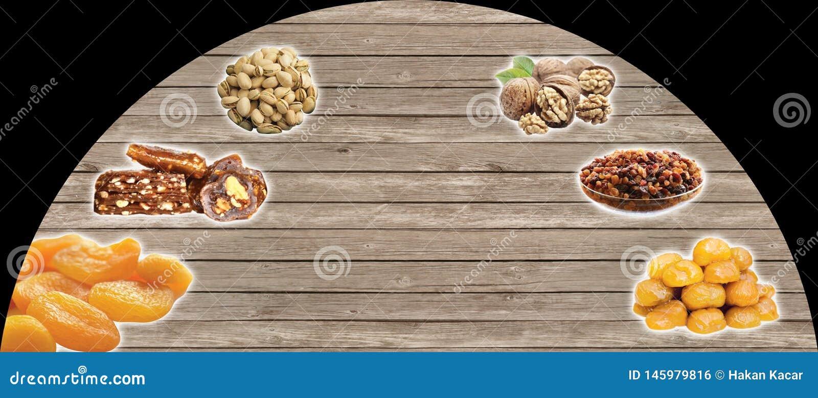 Türkische Nüsse, die Türkischen sprechen: kuruyemis