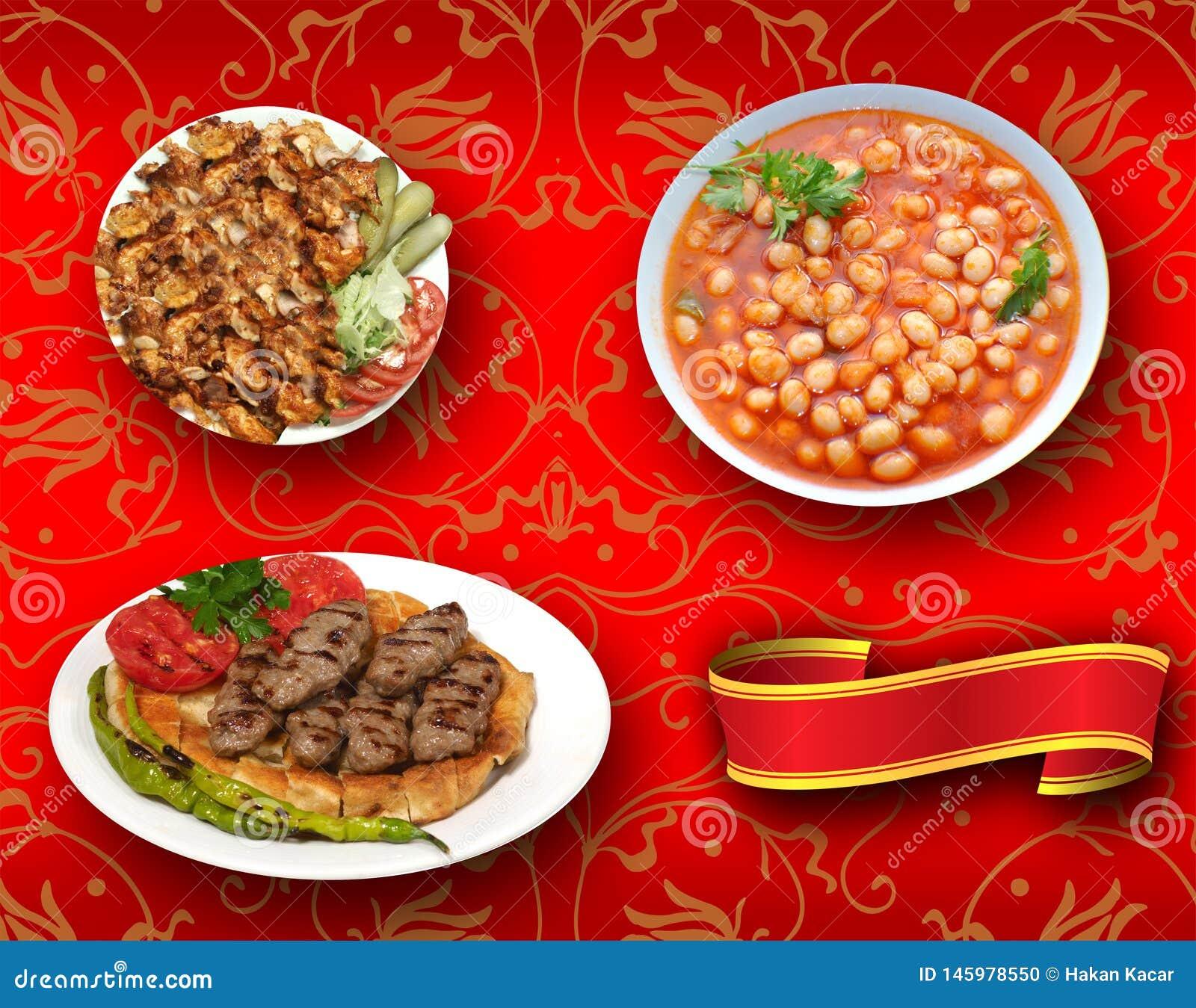 Türkische Nahrungsmittel, die Türkischen sprechen: tà ¼ rk yemekleri, doner, kuru fasulye, pideli kofte
