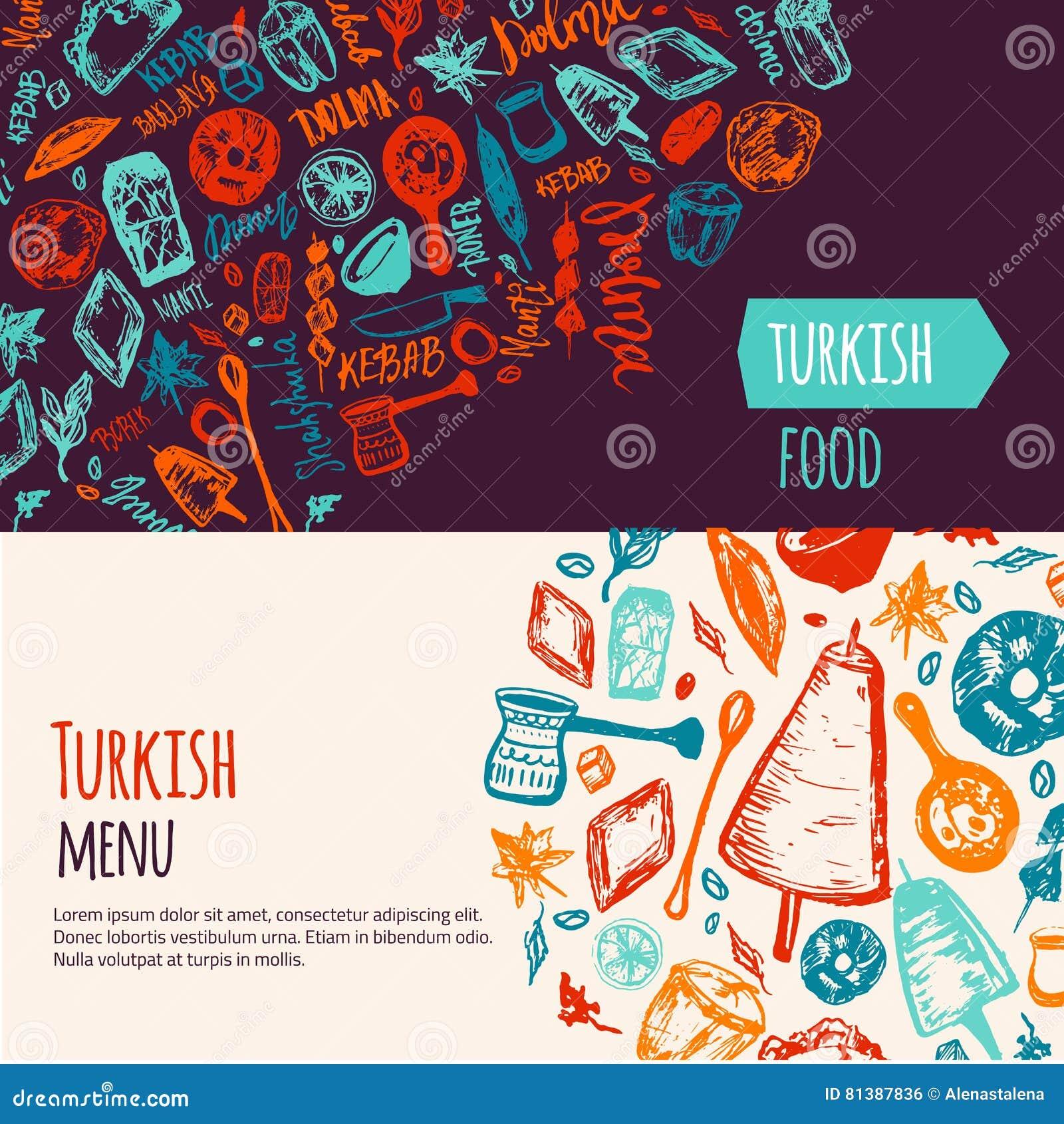 Türkische Stellte Gezeichnete Fahne Des Lebensmittels Hand Mit ...