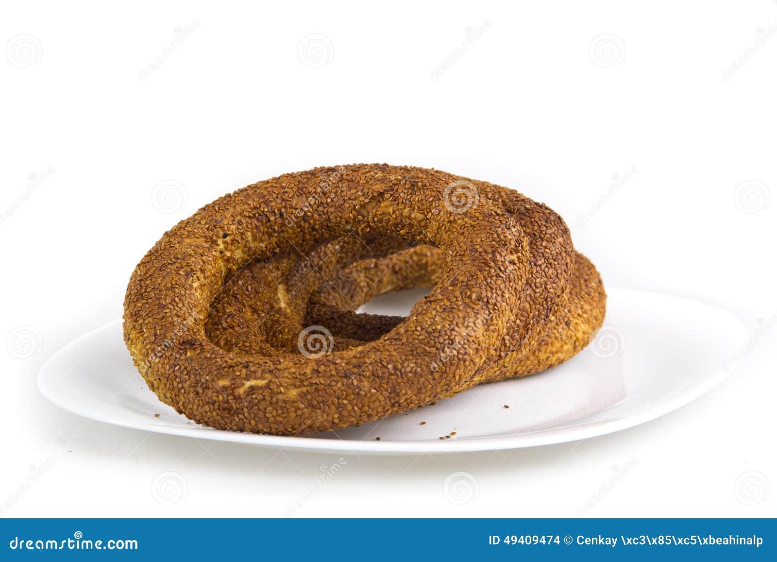 Download Türkischer Bagel, Simit Auf Frühstücksplatte Stockfoto - Bild von brot, platte: 49409474
