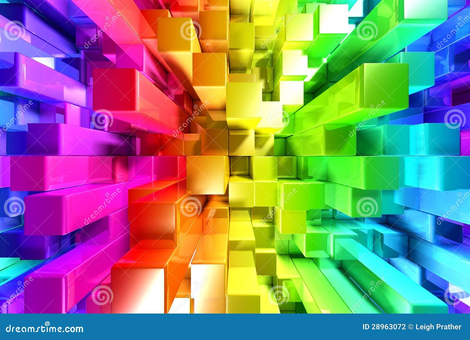 Tęcza kolorowi bloki